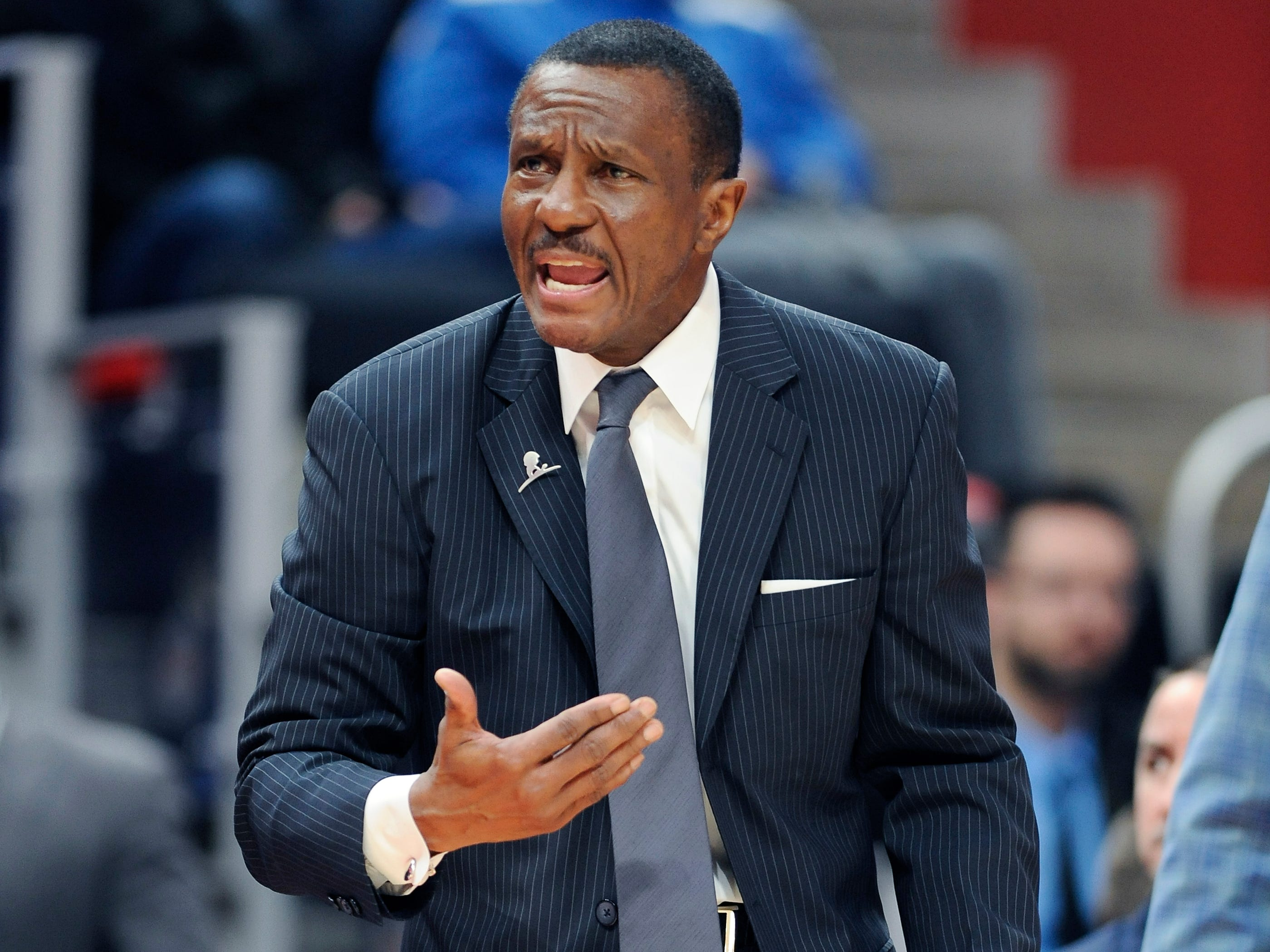 Pistons coach Dwane Casey yells at a referee in the second quarter.