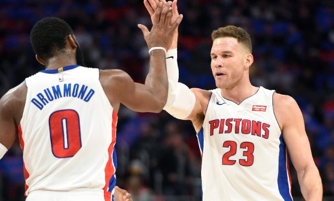 Andre Drummond and Blake Griffin are riding a four-game winning streak, heading into Wednesday's game with the Celtics.