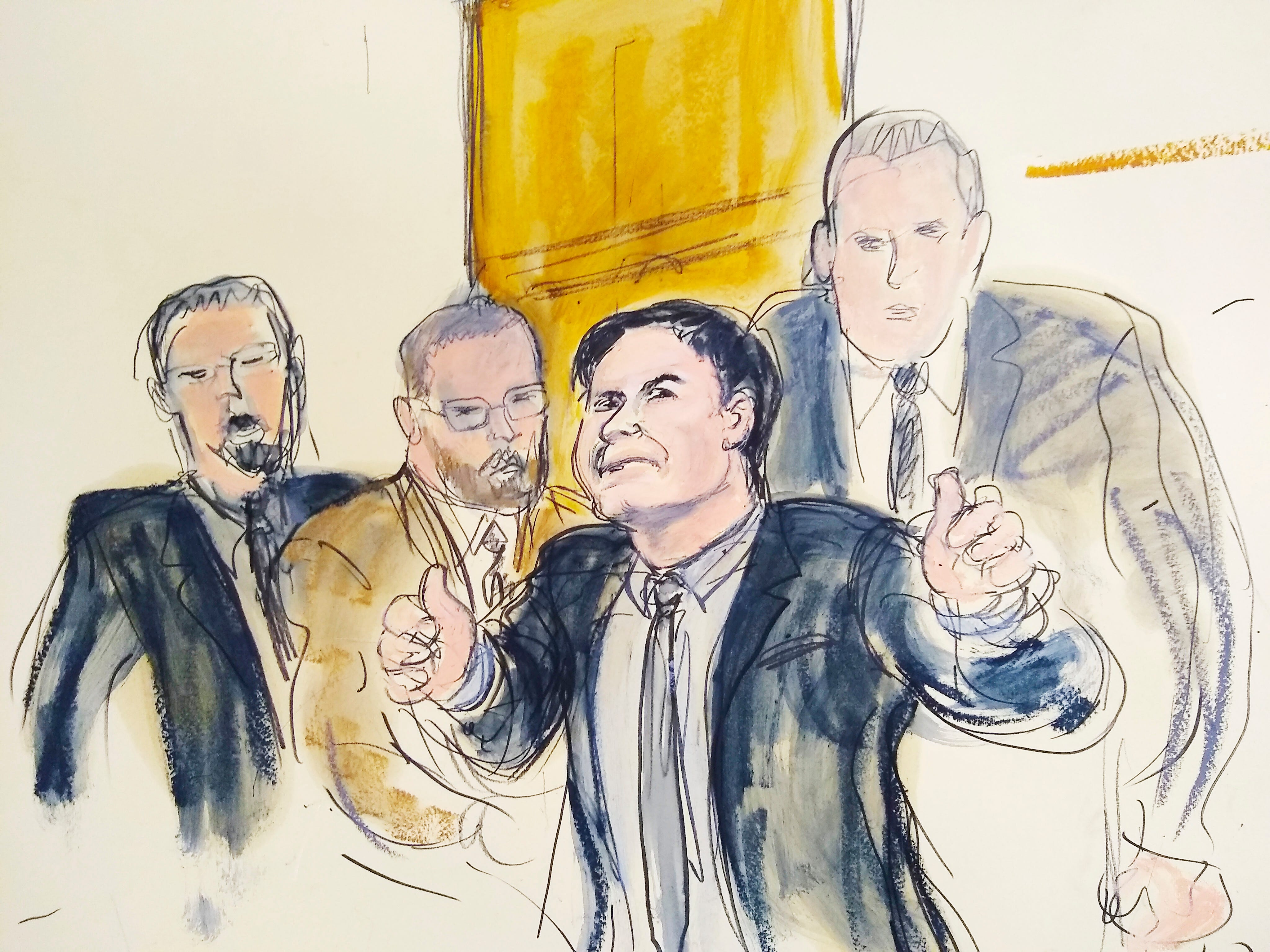"""In a courtroom drawing, Joaquin """"El Chapo"""" Guzman, second from right, accompanied by U.S. Marshalls, gestures a """"thumbs up"""" to his wife, Emma Coronel Aispuro, as he leaves the courtroom, Tuesday, Feb. 12, 2019, in New York. The notorious Mexican drug lord was convicted of drug-trafficking charges."""