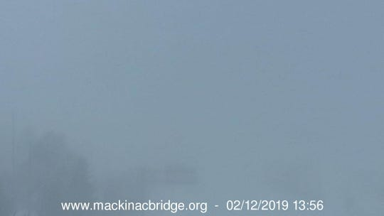 The view of the Mackinac Bridge as seen looking north from Mackinac City.