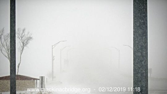 The view of the Mackinac Bridge early Tuesday, Feb. 12, when the bridge was closed due to poor visibility.