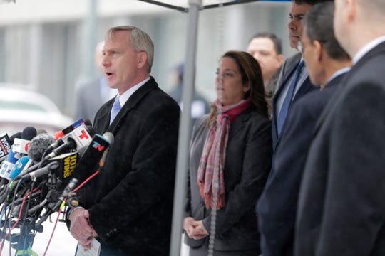 Richard Donoghue, U.S. Attorney for the Eastern District of New York, speaks to reporters after leaving the federal courthouse in New York, Tuesday, Feb. 12, 2019.