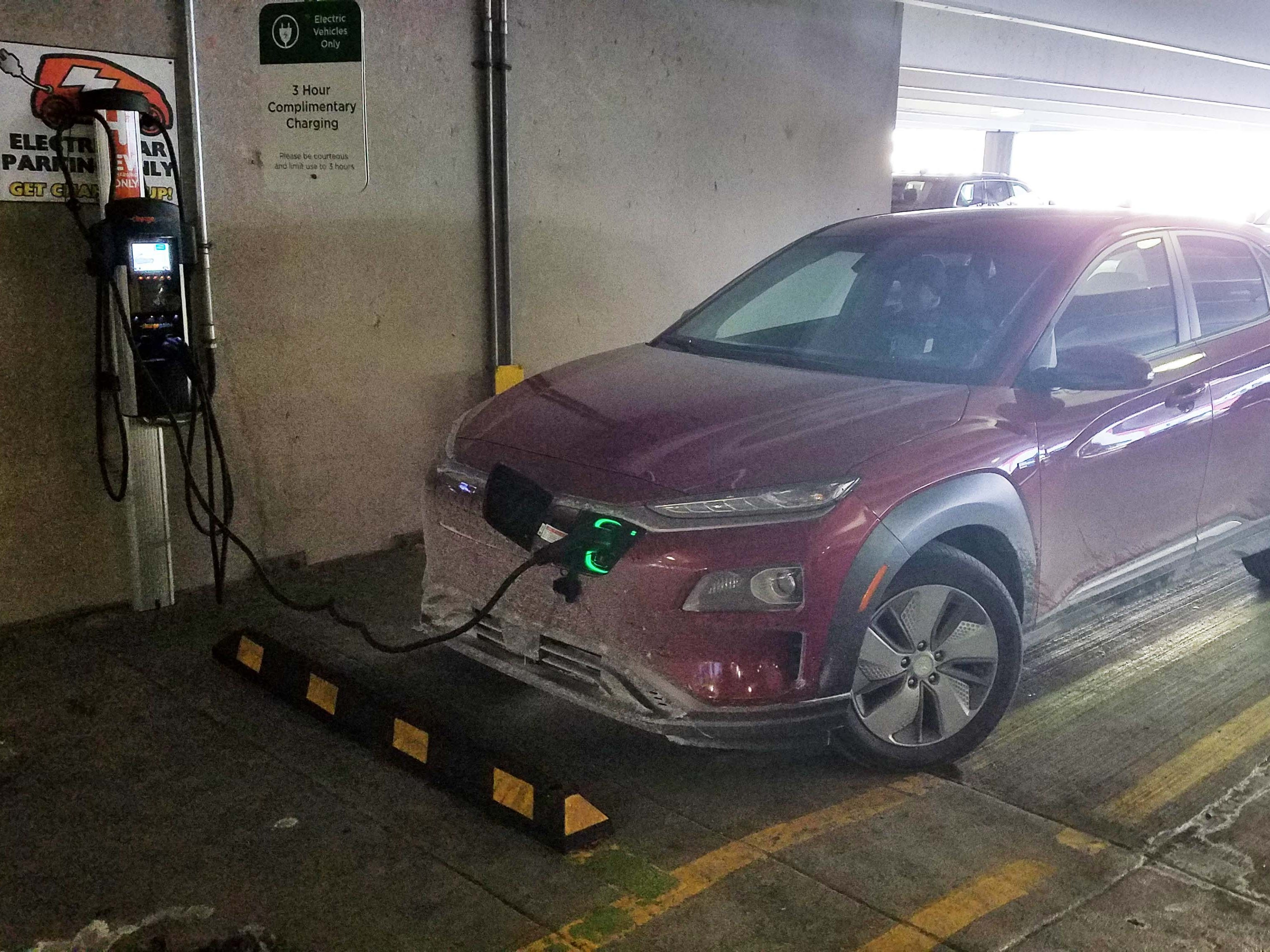 In two hours on a 240-volt public charger, the 2019 Hyundai Kona EV gained just 48 miles — which was quickly used up on a 28-mile commute that ate up 2 miles of range for every mile traveled.