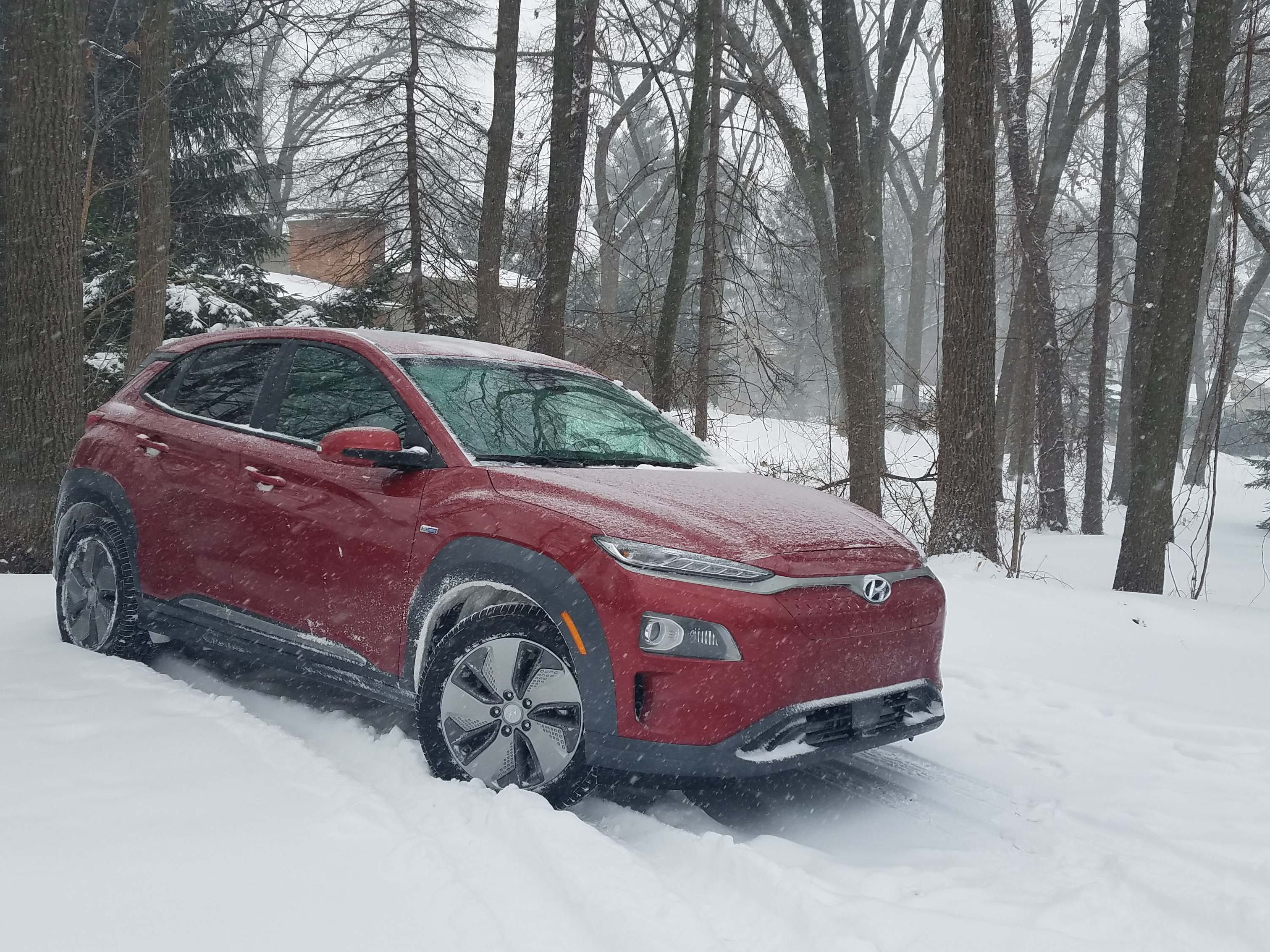 The 2019 Hyundai Kona EV is only available in front-wheel drive, which makes it a tough sell across from similarly priced, AWD, gas-powered SUVs. The car struggles to put down its 290-pound feet of torque in the snow as well.