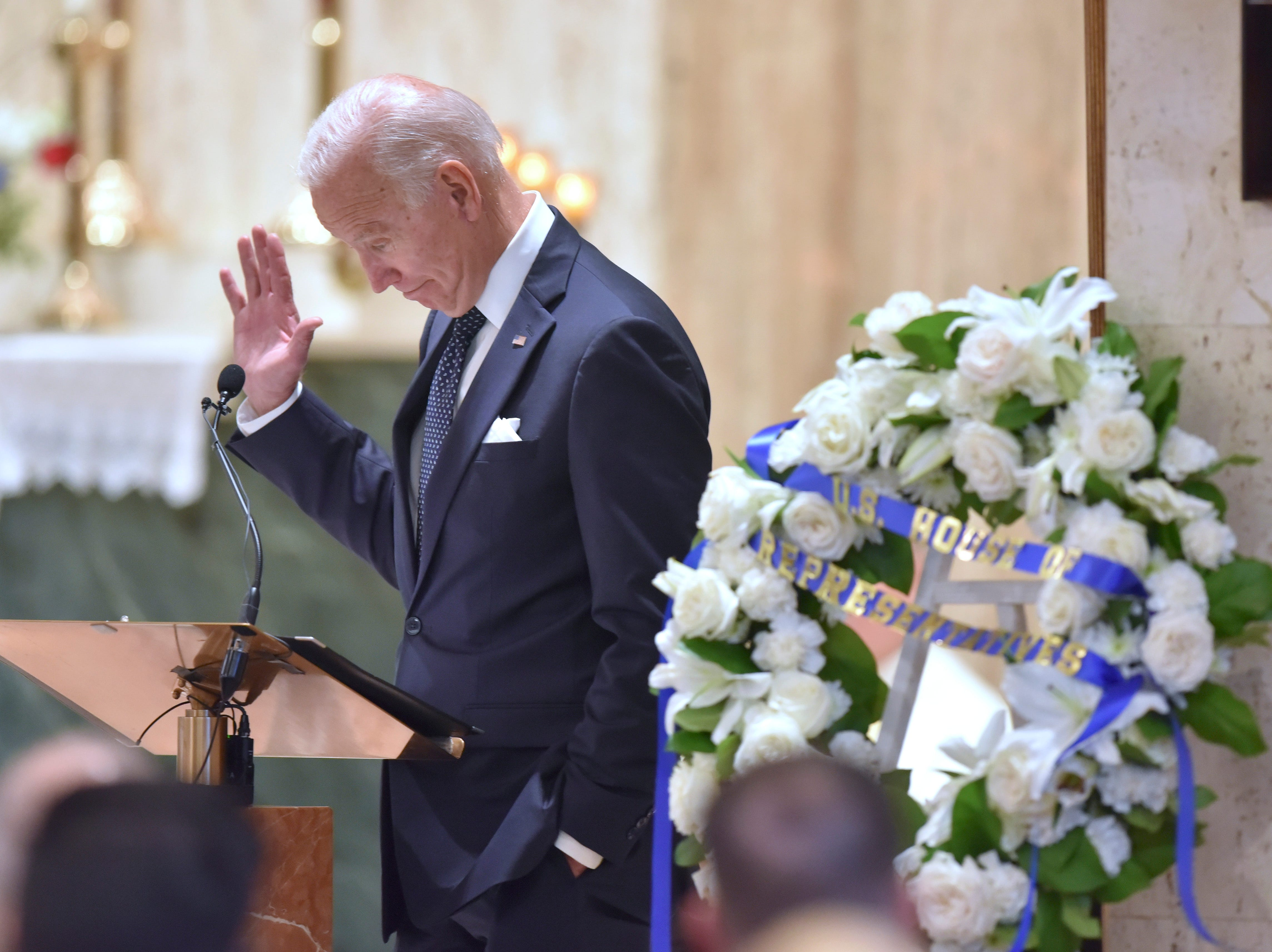 Former U.S. Vice President Joe Biden gives a speech during John D. Dingell's funeral.