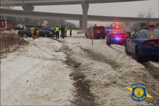 A patrol vehicle was hit while stationary doing paperwork. The sergeant was in the the center median of I-696 near Novi when a vehicle lost control and struck the patrol car.
