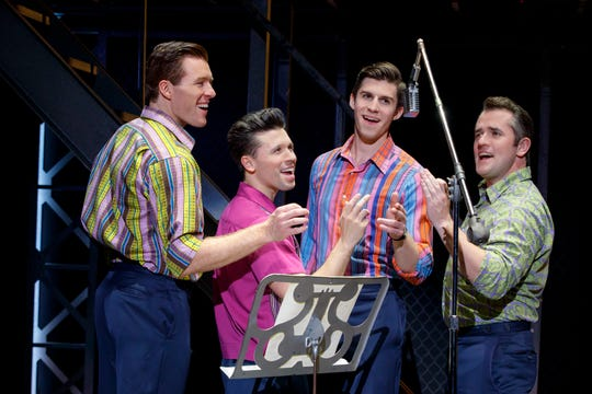 In the touring company of 'Jersey Boys,' Jonathan Cable, Jonny Wexler, Eric Chambliss and Corey Greenan portray The Four Seasons.