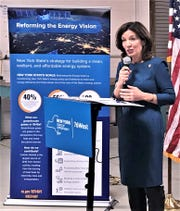 Lt. Gov. Kathy Hochul talks about innovative energy solutions during a grand opening Tuesday for a new manufacturing facility in Big Flats owned by EkoStinger.