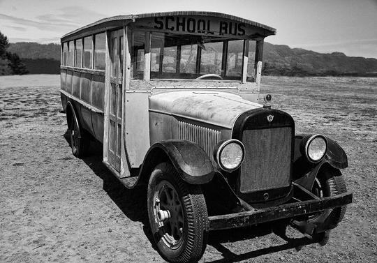 Aaron W. Johnson founded Johnson School Bus Service in August 1942 when he converted a milk truck and two logging trucks into school buses. The company has been purchased Landmark School Transportation after 42 years in business.