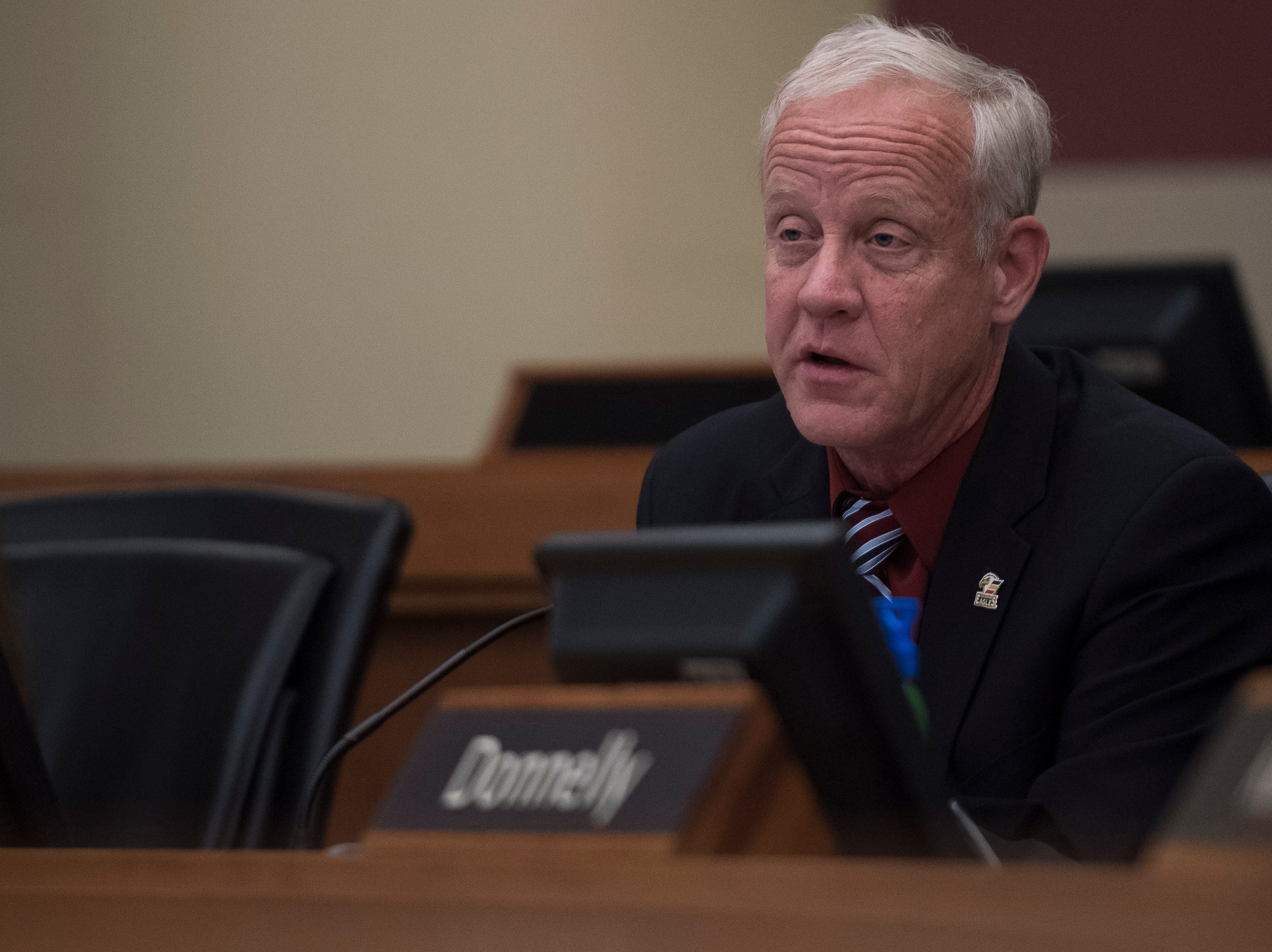 Larimer County Commissioners Steve Johnson votes against the current construction proposition of the Thornton pipeline on Monday, Feb. 11, 2019, in Fort Collins, Colo.