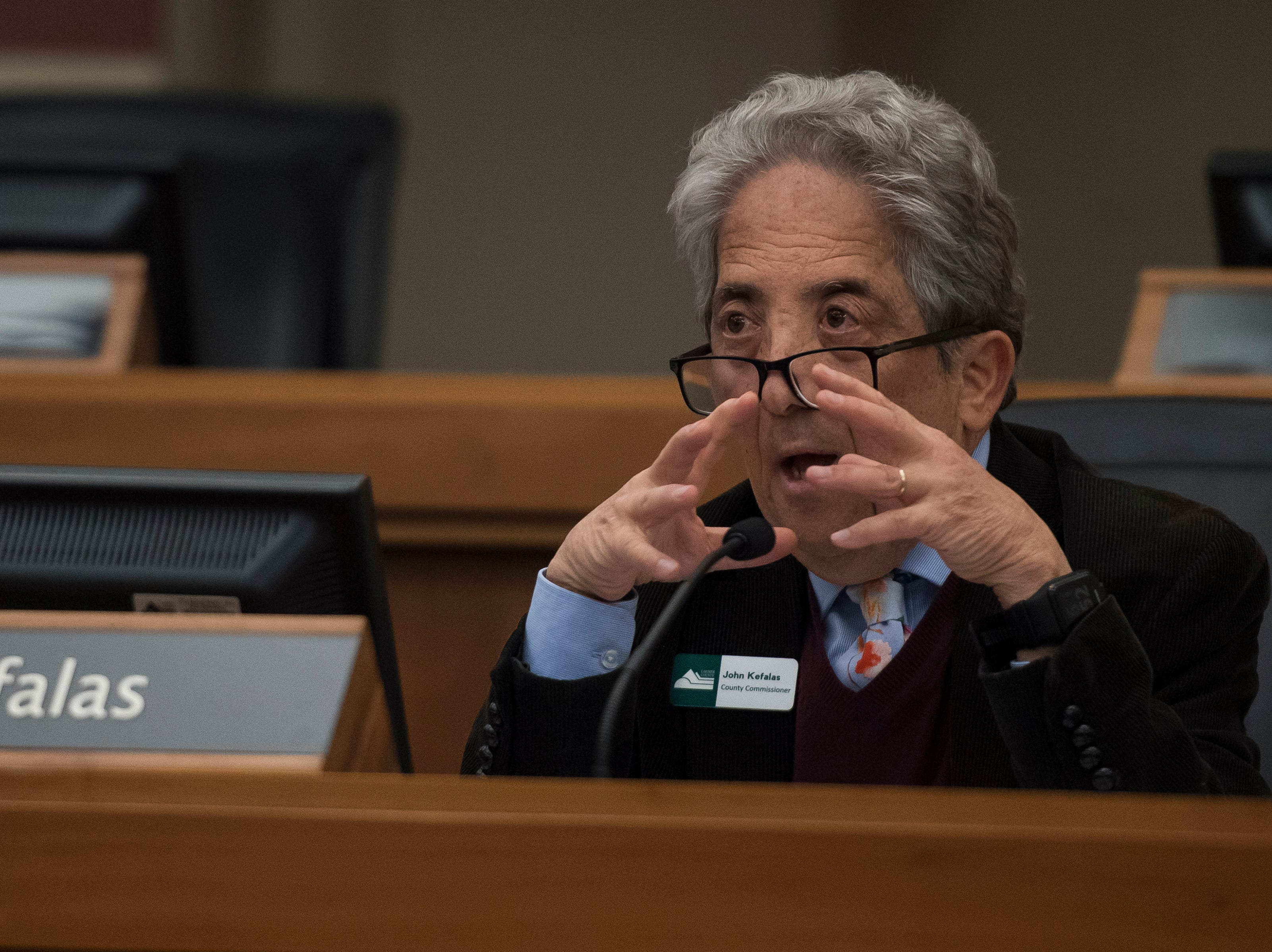 Larimer County District one commissioner John Kefalas asks Director of the Thornton Water Project Mark Koleber questions before the county commissioners ultimately voted against the current proposal for construction of the Thornton pipeline on Monday, Feb. 11, 2019, in Fort Collins, Colo.