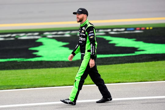 Ross Chastain, driver of the No. 15 Chevrolet, stands on the grid during qualifying for the Monster Energy NASCAR Cup Series 61st Annual Daytona 500 at Daytona International Speedway on Feb. 10 in Daytona Beach.