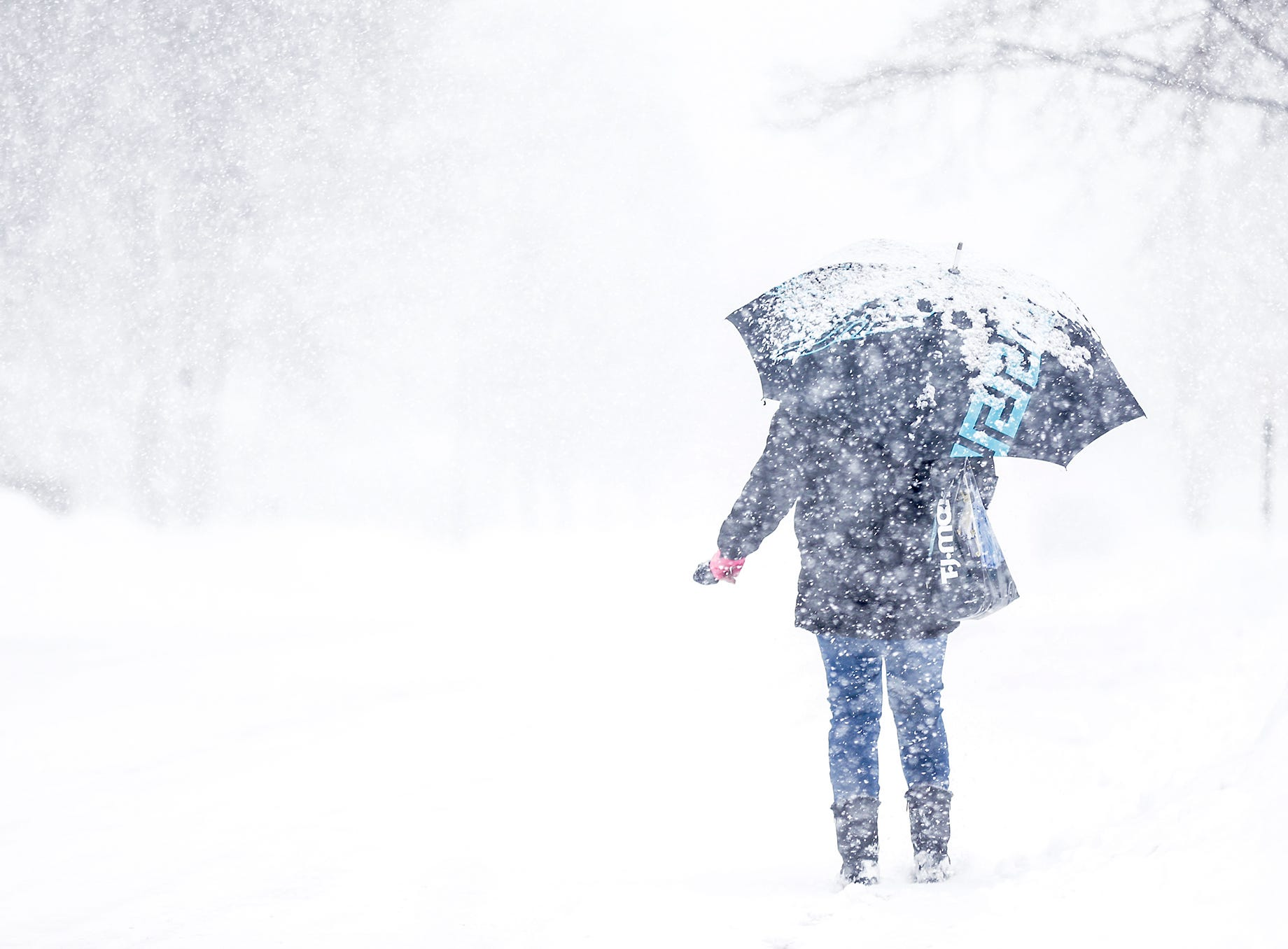 A woman walks during a winter storm Tuesday, Feb. 12, 2019, on Seymour Street in Fond du Lac, Wis. A winter storm warning was issued for the area.