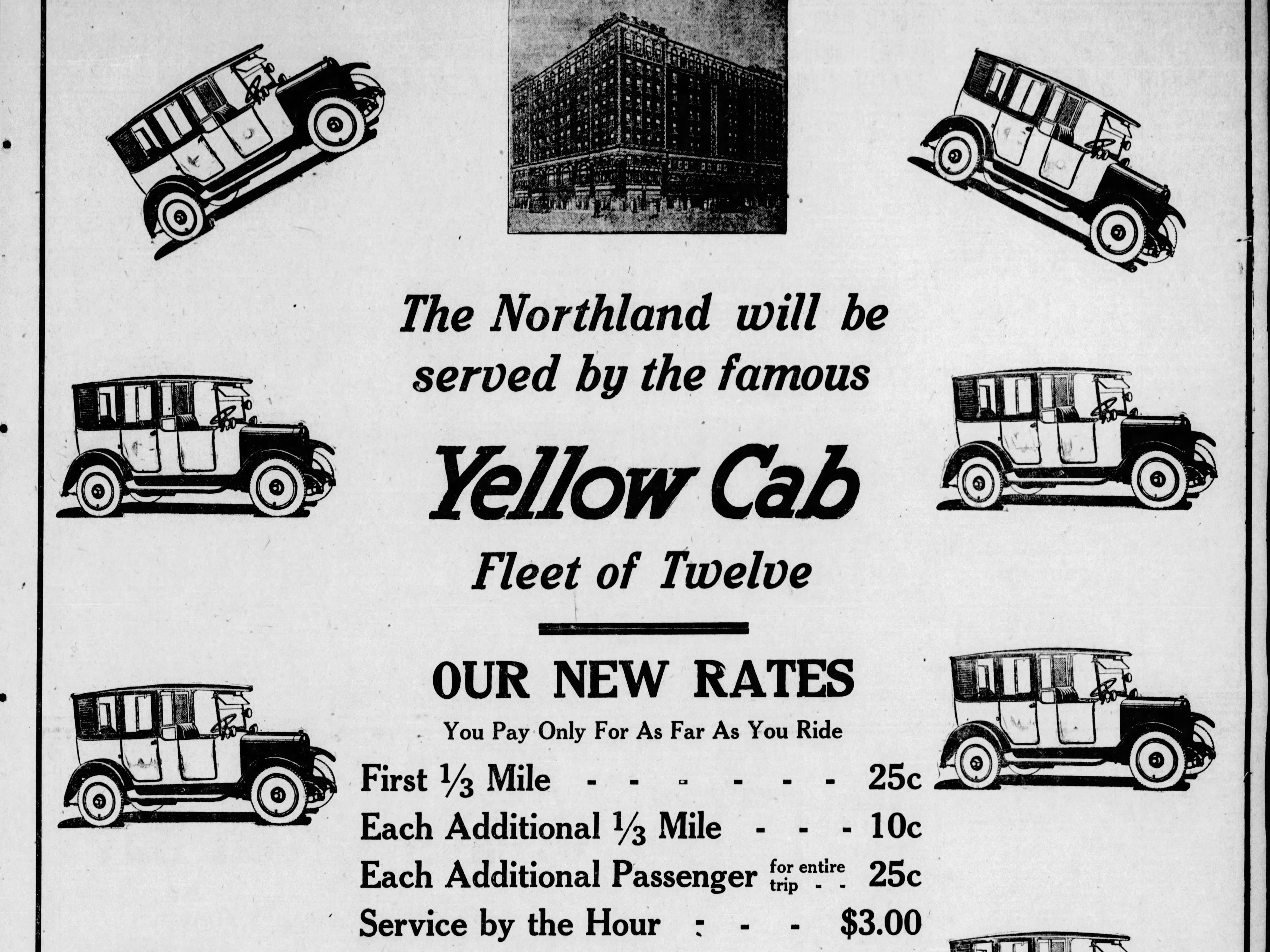 An advertisement for Yellow Cab in a March 20, 1924 special section in the Green Bay Press Gazette announcing the opening of the Hotel Northland.