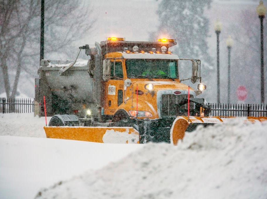 A plow truck plows on Stewart Avenue during a snowstorm Tuesday, Feb. 12, 2019, in Wausau, Wis.
