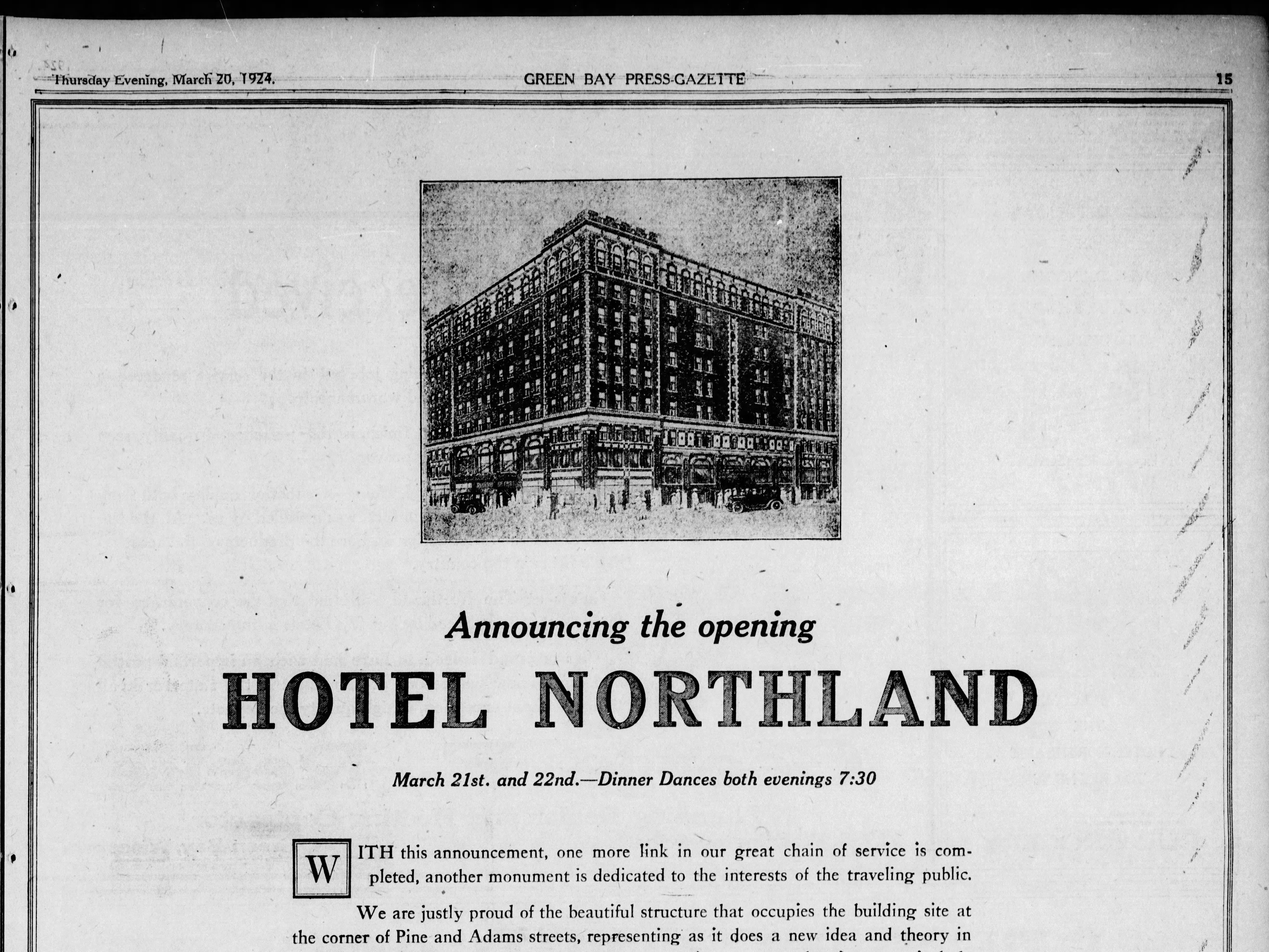An advertisement in a March 20, 1924 special section in the Green Bay Press Gazette announcing the opening of the Hotel Northland.