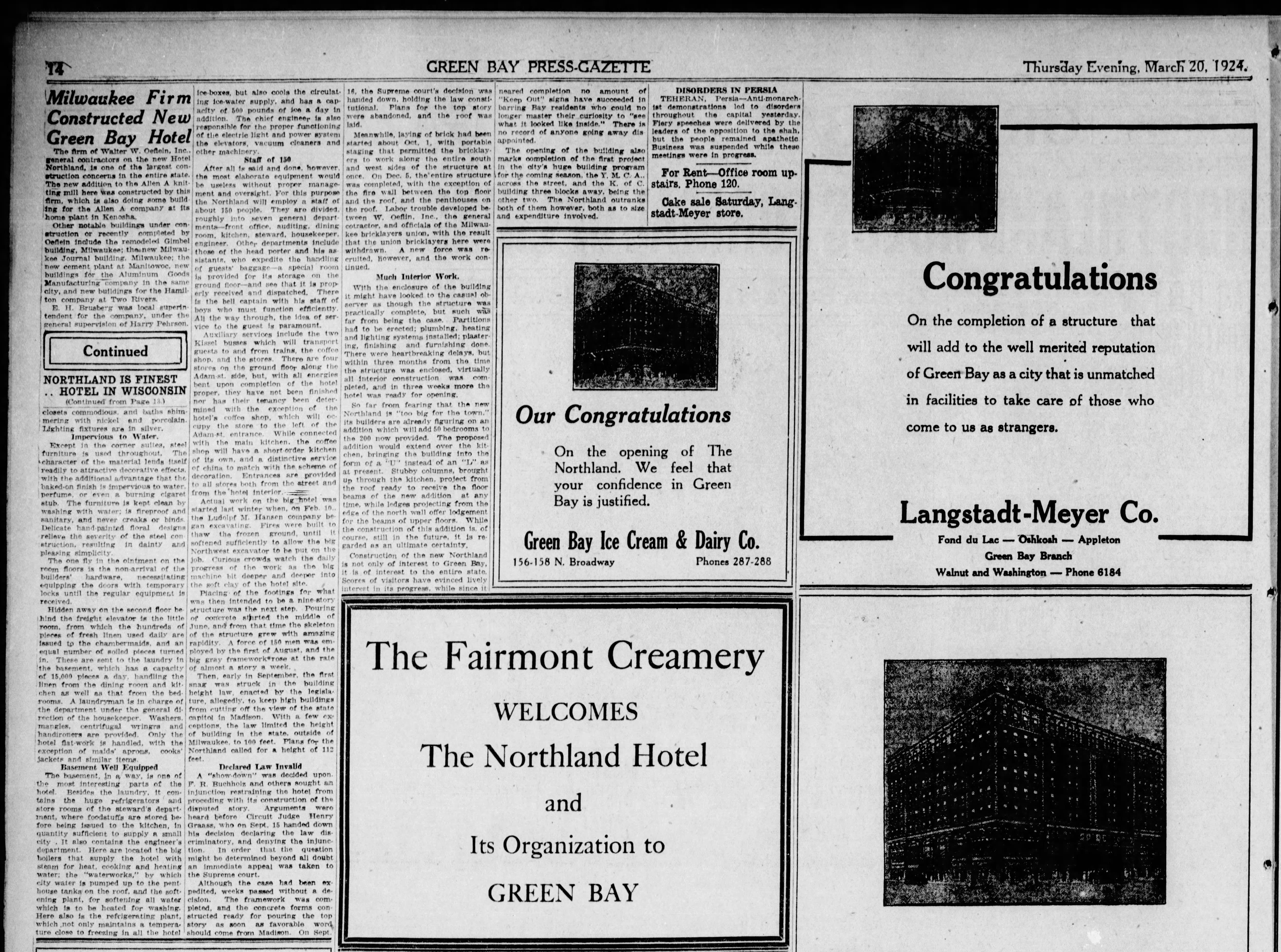 A story and advertising in a March 20, 1924 special section in the Green Bay Press Gazette announcing the opening of the Hotel Northland.