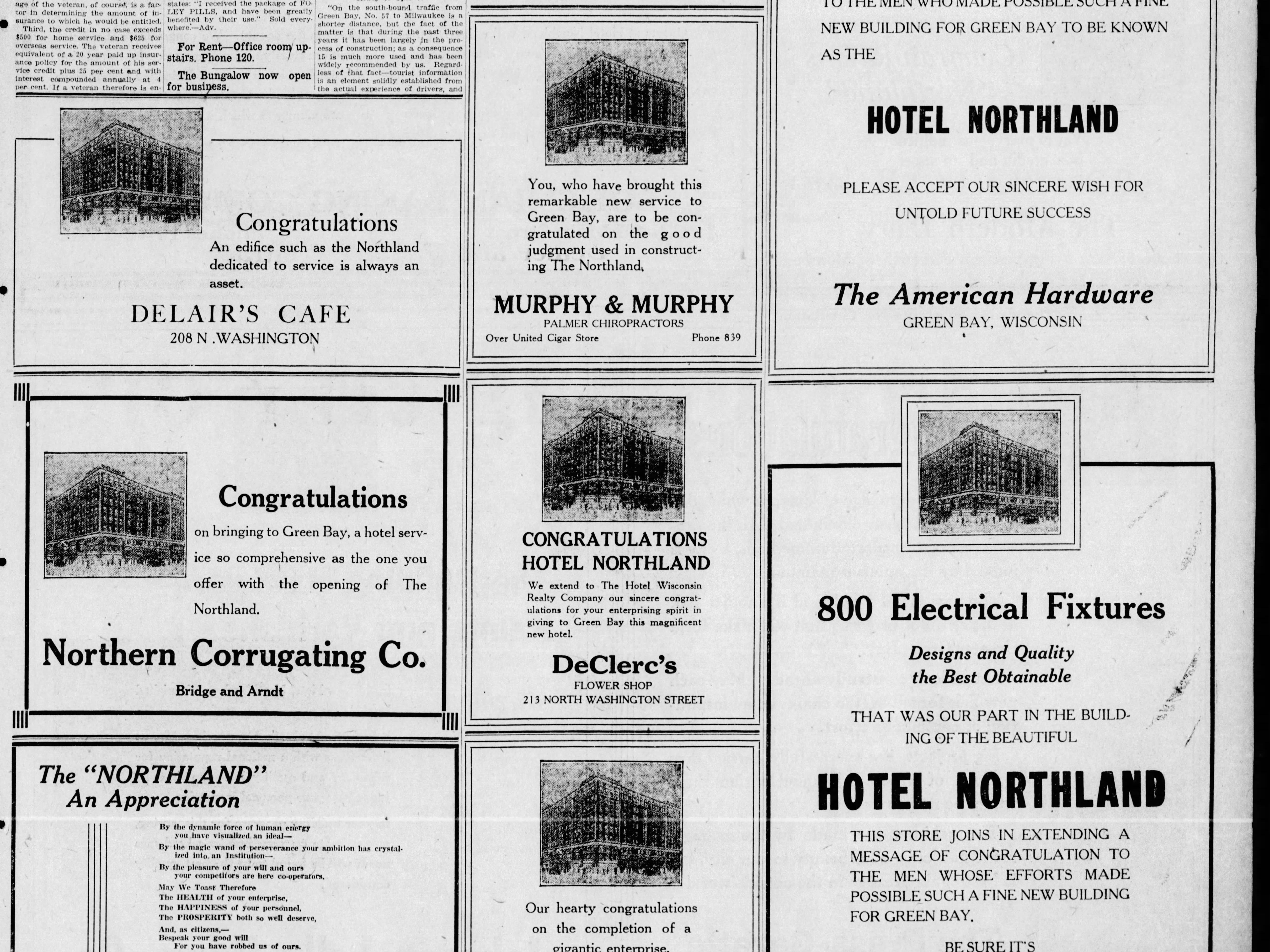 Advertisements in a March 20, 1924 special section in the Green Bay Press Gazette announcing the opening of the Hotel Northland.