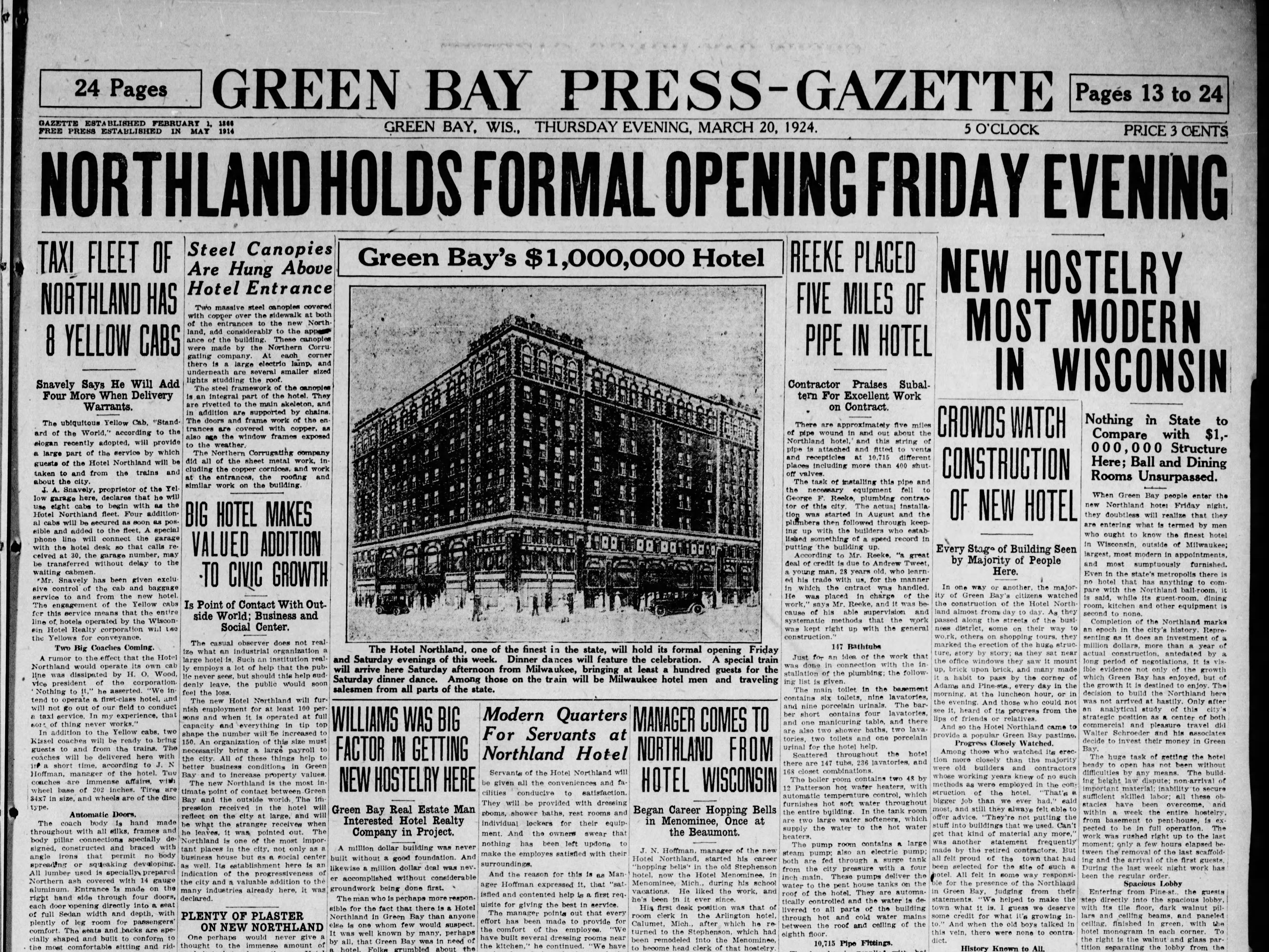 The March 20, 1924 front page of a special section in the Green Bay Press Gazette announcing the opening of the Hotel Northland.
