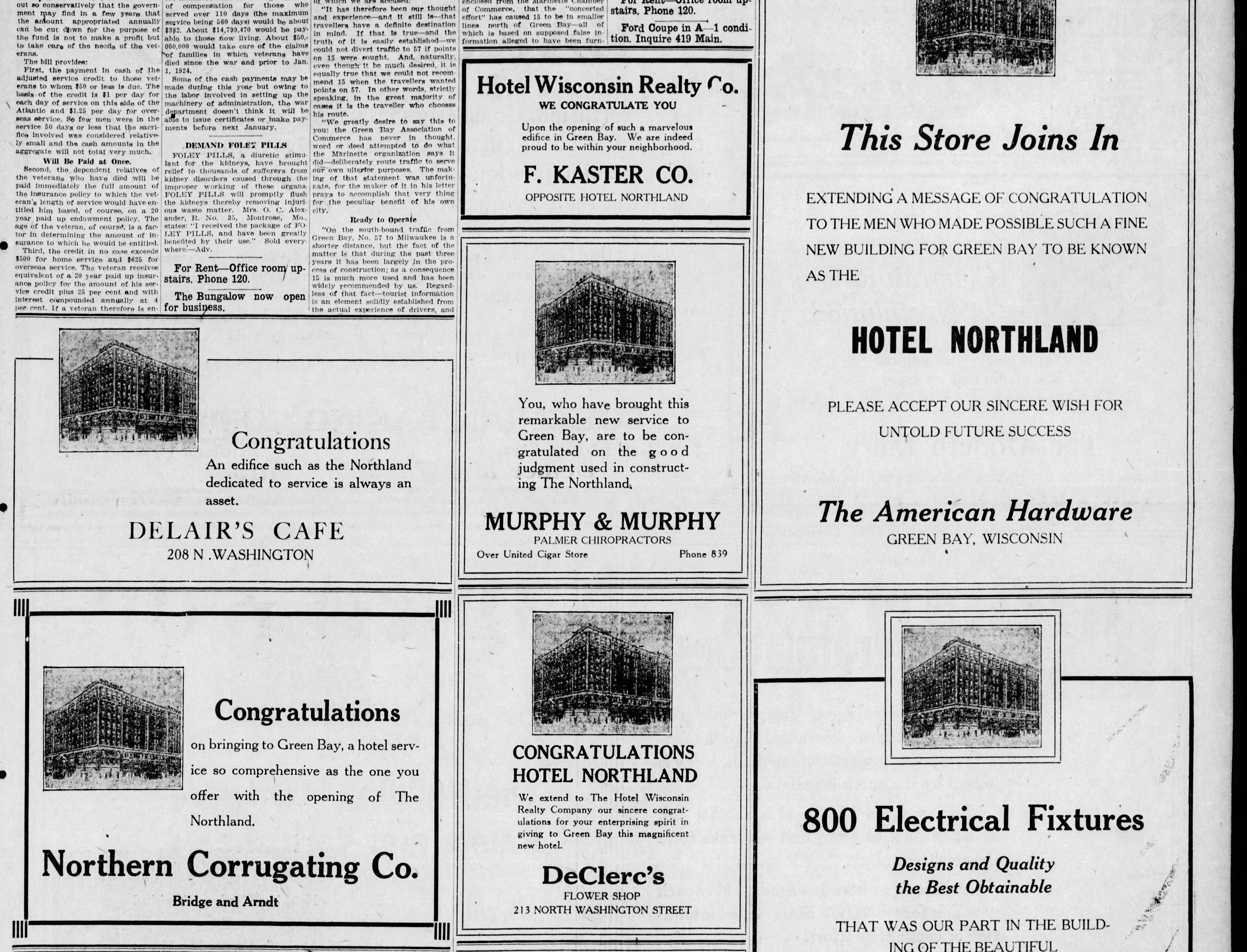 Adverstisements in a March 20, 1924 special section in the Green Bay Press Gazette announcing the opening of the Hotel Northland.