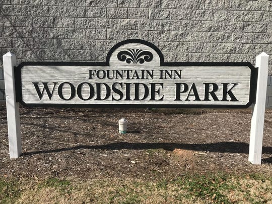 The sign outside Woodside Park in Fountain Inn is pictured in February 2019.