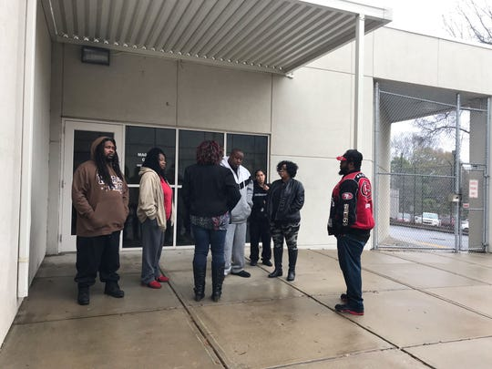 The family of Kevin King stands outside a Greenville County bond hearing Tuesday, Feb. 12, 2019. Kendrick Dunlap, is one of two men charged with King's killing. A magistrate denied his bond during the hearing.