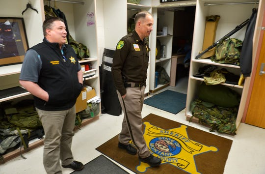 Cascade County Sheriff Jesse Slaughter, right, and Undersheriff Cory Reeves tour the facilities at the Cascade County Sheriff's Department, February 12, 2019.