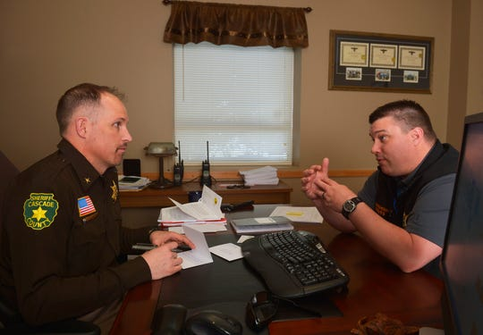 Cascade County Sheriff Jesse Slaughter and Undersheriff Cory Reeves at the Cascade County Sheriff's Department, February 12, 2019.