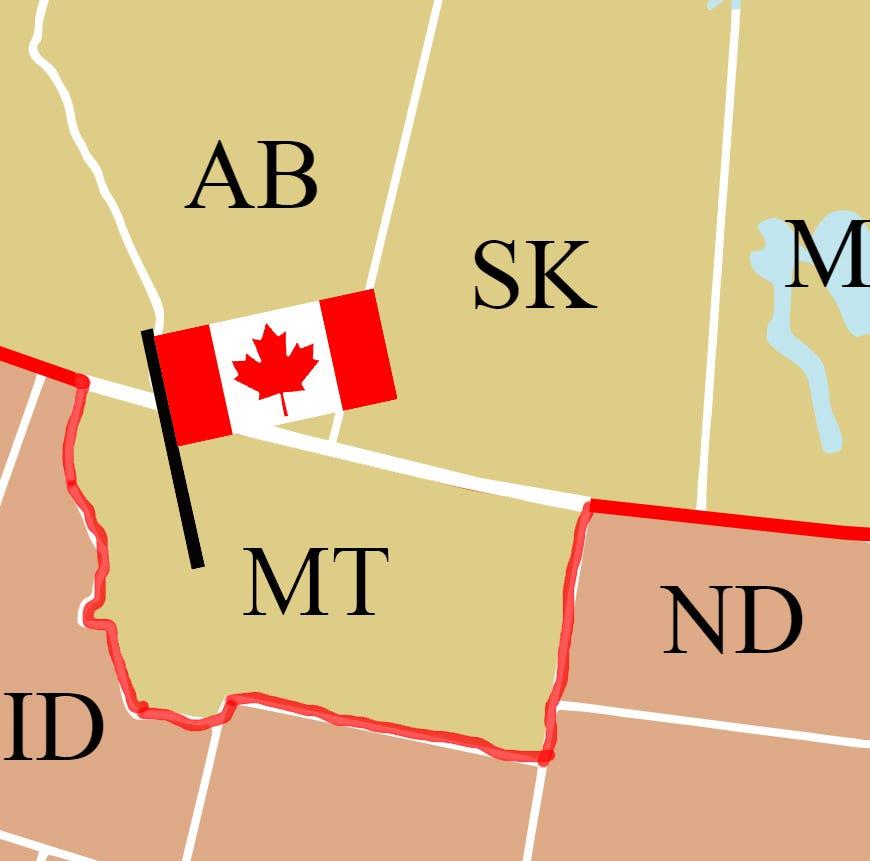 Imagine Montana as part of Canada.