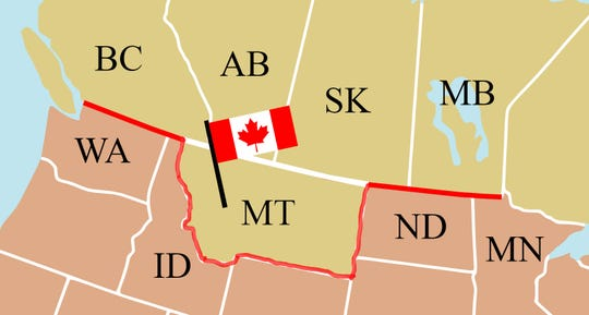 Imagine Montana as part of Canada.