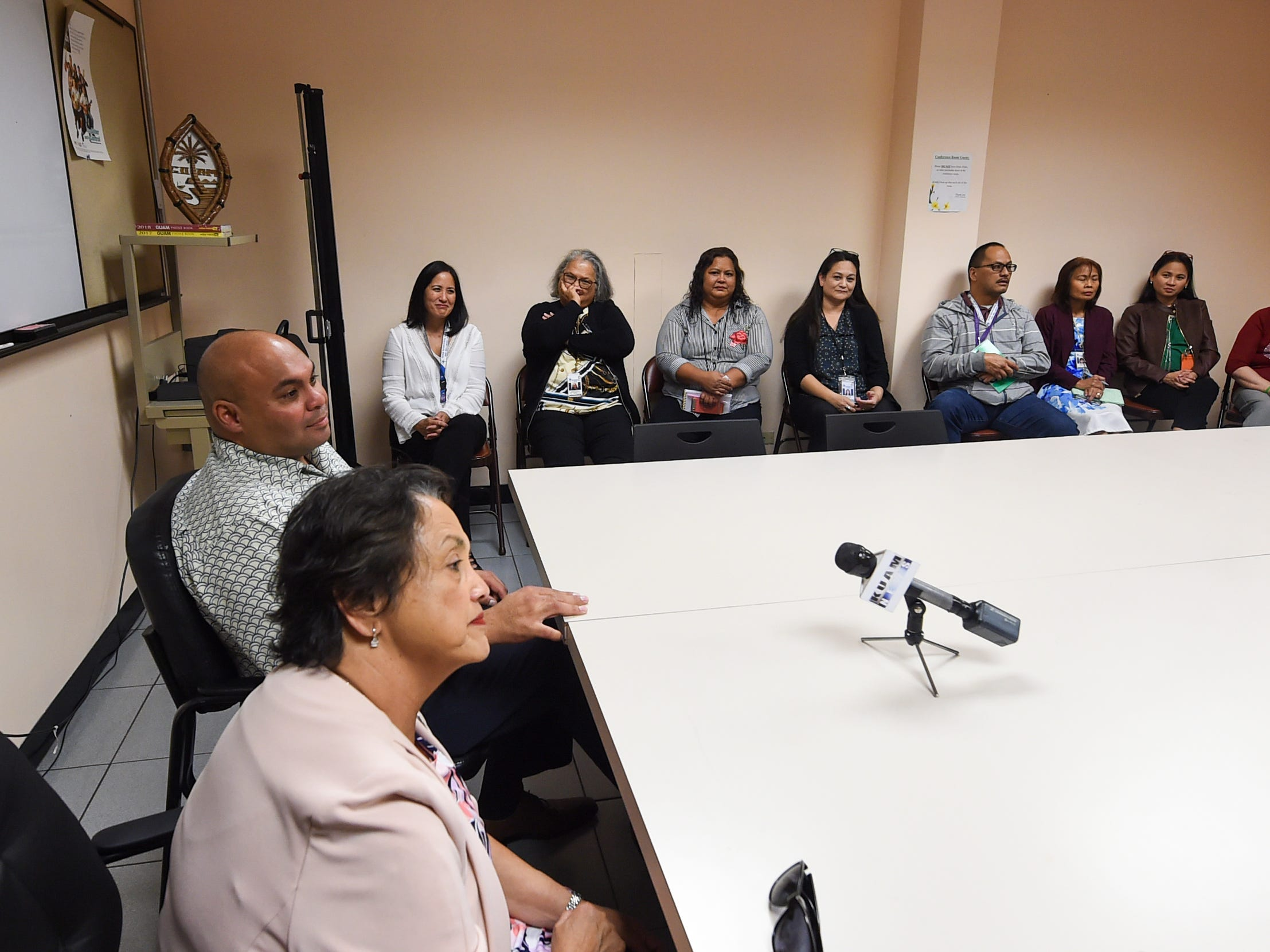 Gov. Lou Leon Guerrero and Lt. Gov. Josh Tenorio meet with members of the Guam Behavioral Health and Wellness Center management as part of their tour of Guam's government agencies in Tamuning on Feb. 12, 2019.