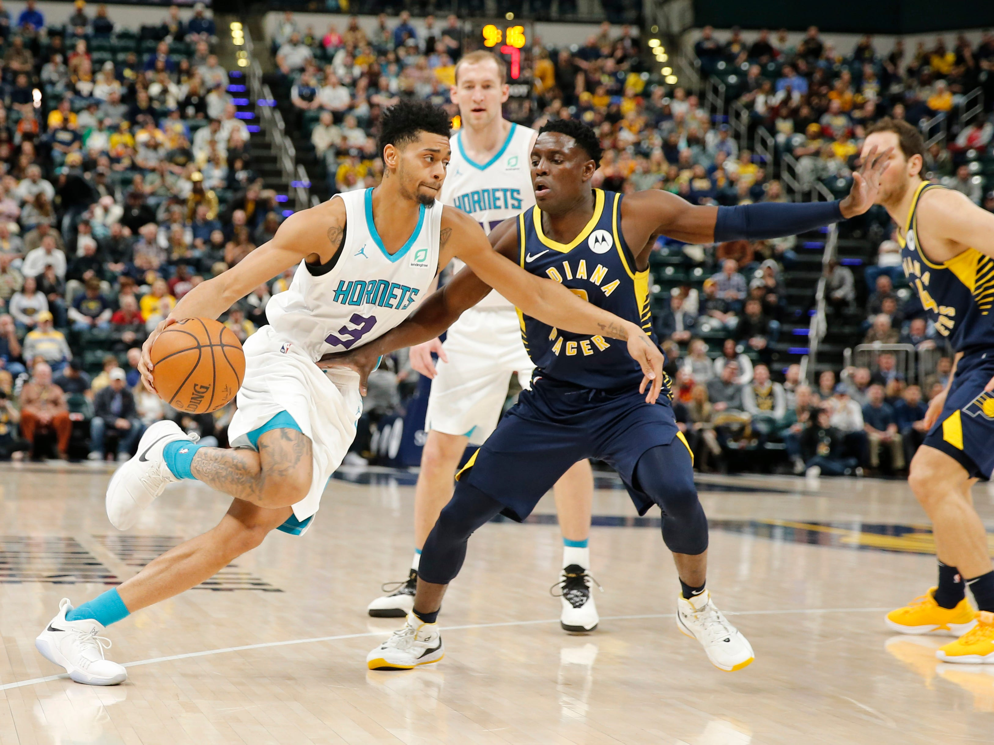 Feb 11, 2019; Indianapolis, IN, USA; Charlotte Hornets guard Jeremy Lamb (3) drives to the basket against Indiana Pacers guard Darren Collison (2) during the first quarter at Bankers Life Fieldhouse.