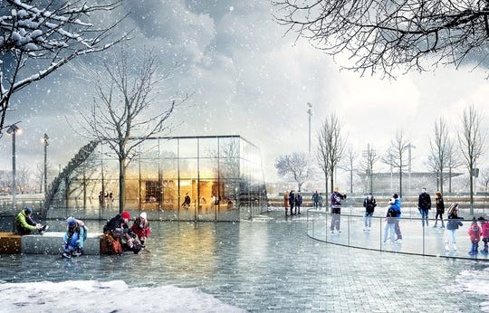 A rendering of Grand Junction Plaza ice rink in Westfield. If a financial plan is approved the project could be completed by 2021