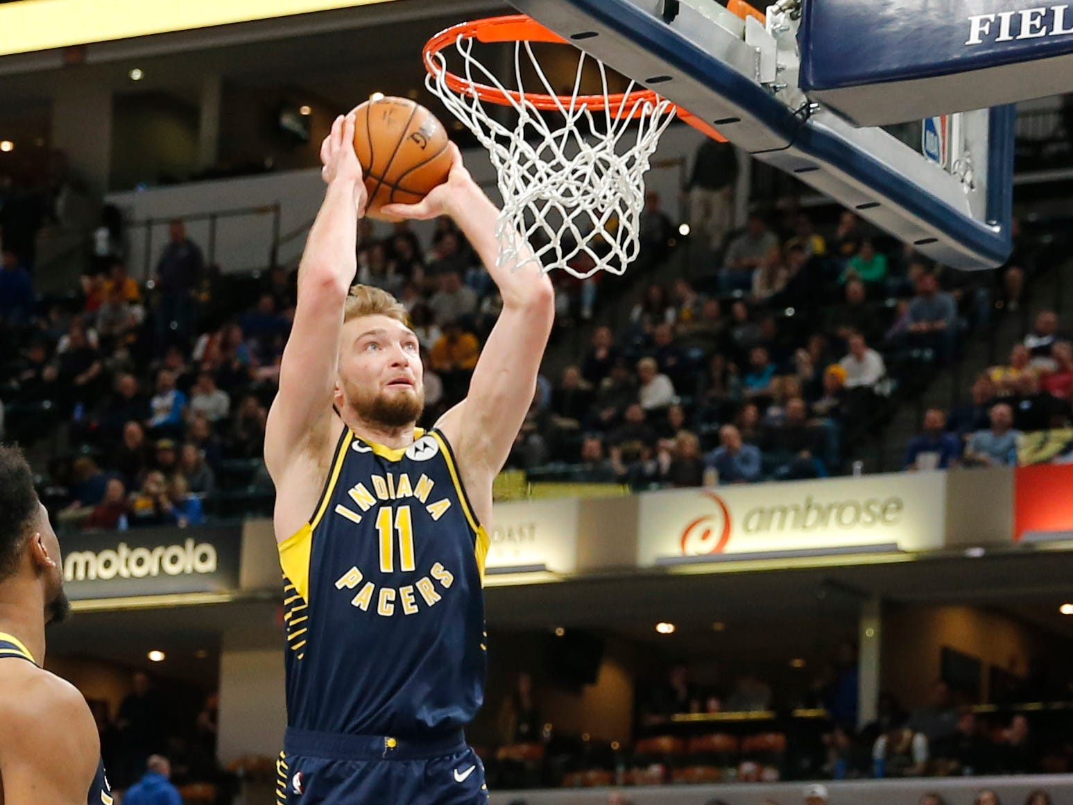 Feb 11, 2019; Indianapolis, IN, USA; Indiana Pacers forward Domantas Sabonis (11) dunks against the Charlotte Hornets during the fourth quarter at Bankers Life Fieldhouse.