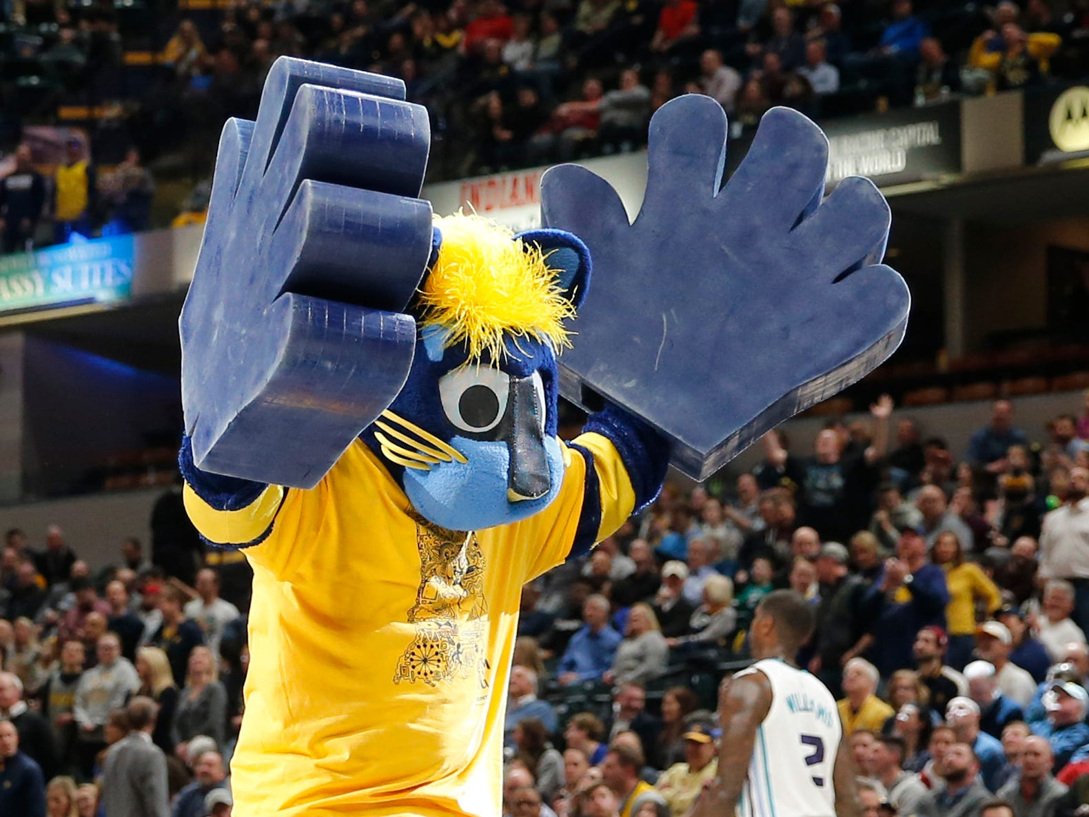 Feb 11, 2019; Indianapolis, IN, USA; Indiana Pacers mascot Boomer performs a cheer in a game against the Charlotte Hornets during the fourth quarter at Bankers Life Fieldhouse.