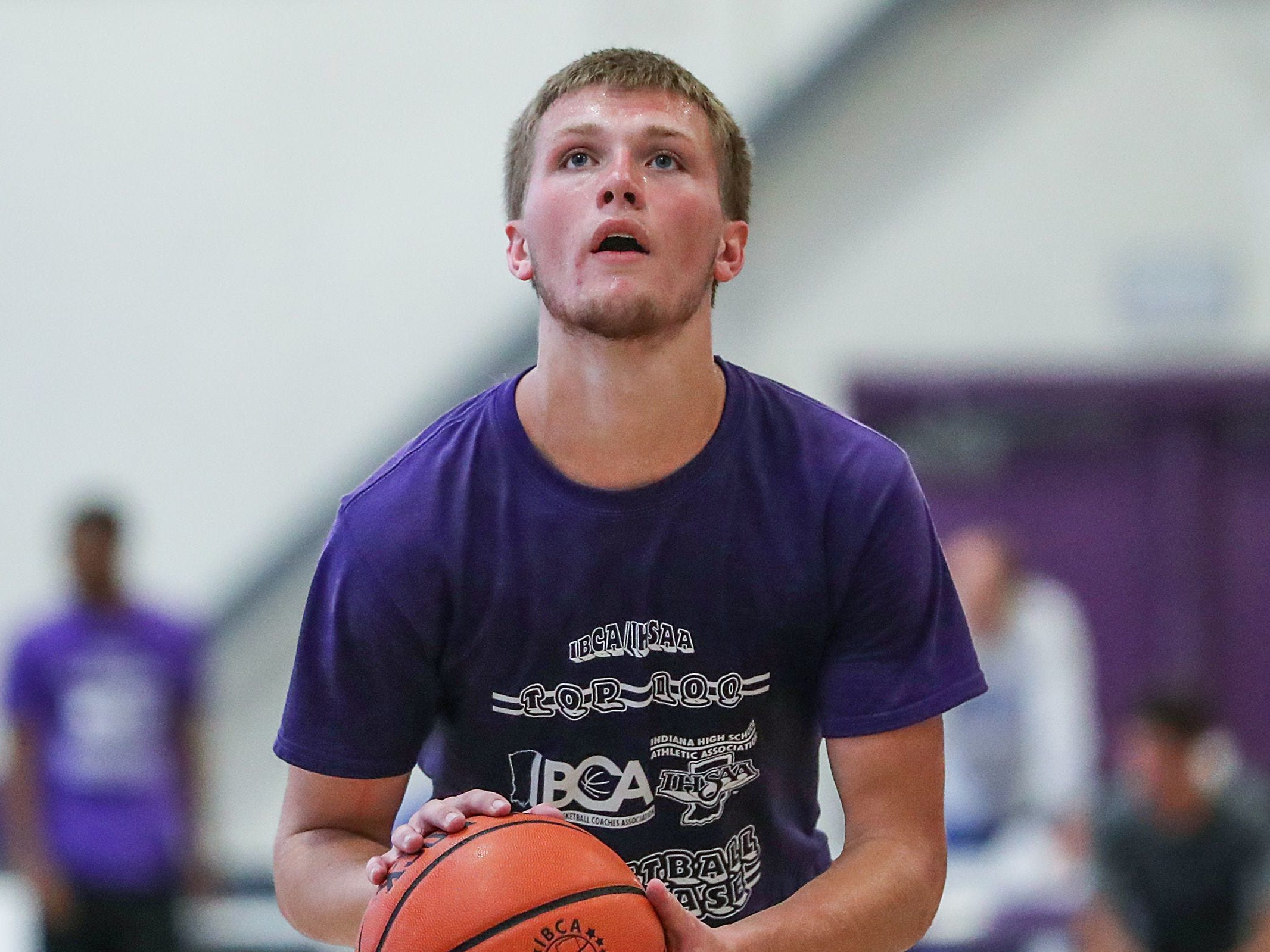 Bedford North Lawrence's Brayton Bailey dunks during the 16th annual IBCA/IHSAA Underclass Boys Showcase at Ben Davis High School in Indianapolis, Monday, July 9, 2018.