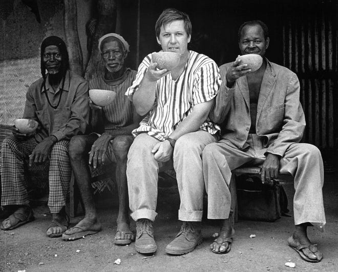 Christopher D. Roy with friends in Burkina Faso. ca. 1985. Photo courtesy Nora Leonard Roy.