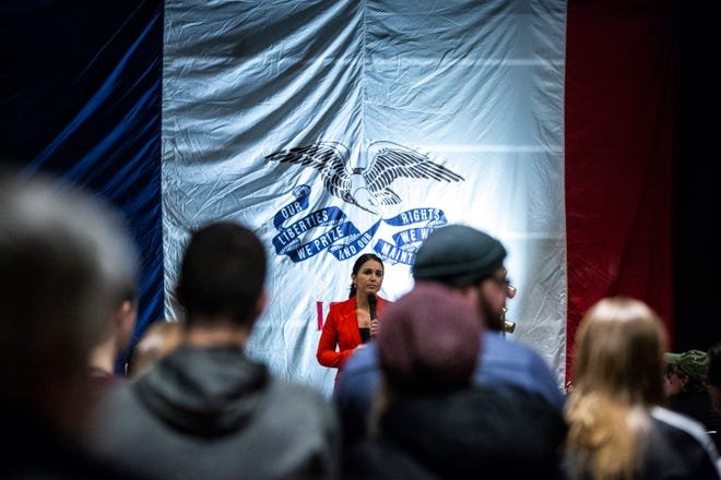 U.S. Rep. Tulsi Gabbard, D-Hawaii, speaks during an event on her first trip to Iowa since declaring her intent to run for president on Monday, Feb. 11, 2019 at Big Grove Brewery in Iowa City.