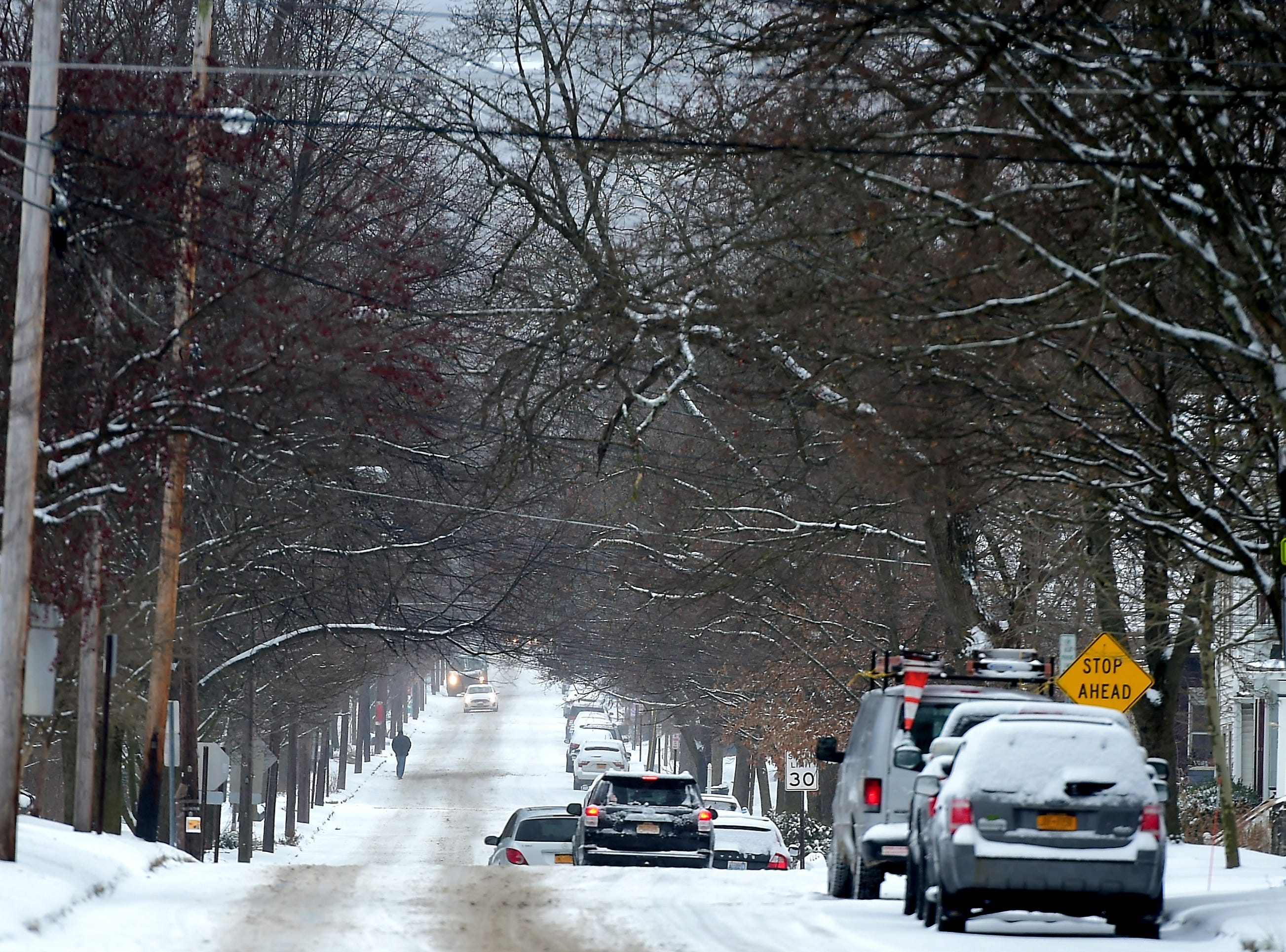 A winter storm brought snow, ice and high winds to Ithaca and the surrounding regions on Tuesday, February 12, 2019.