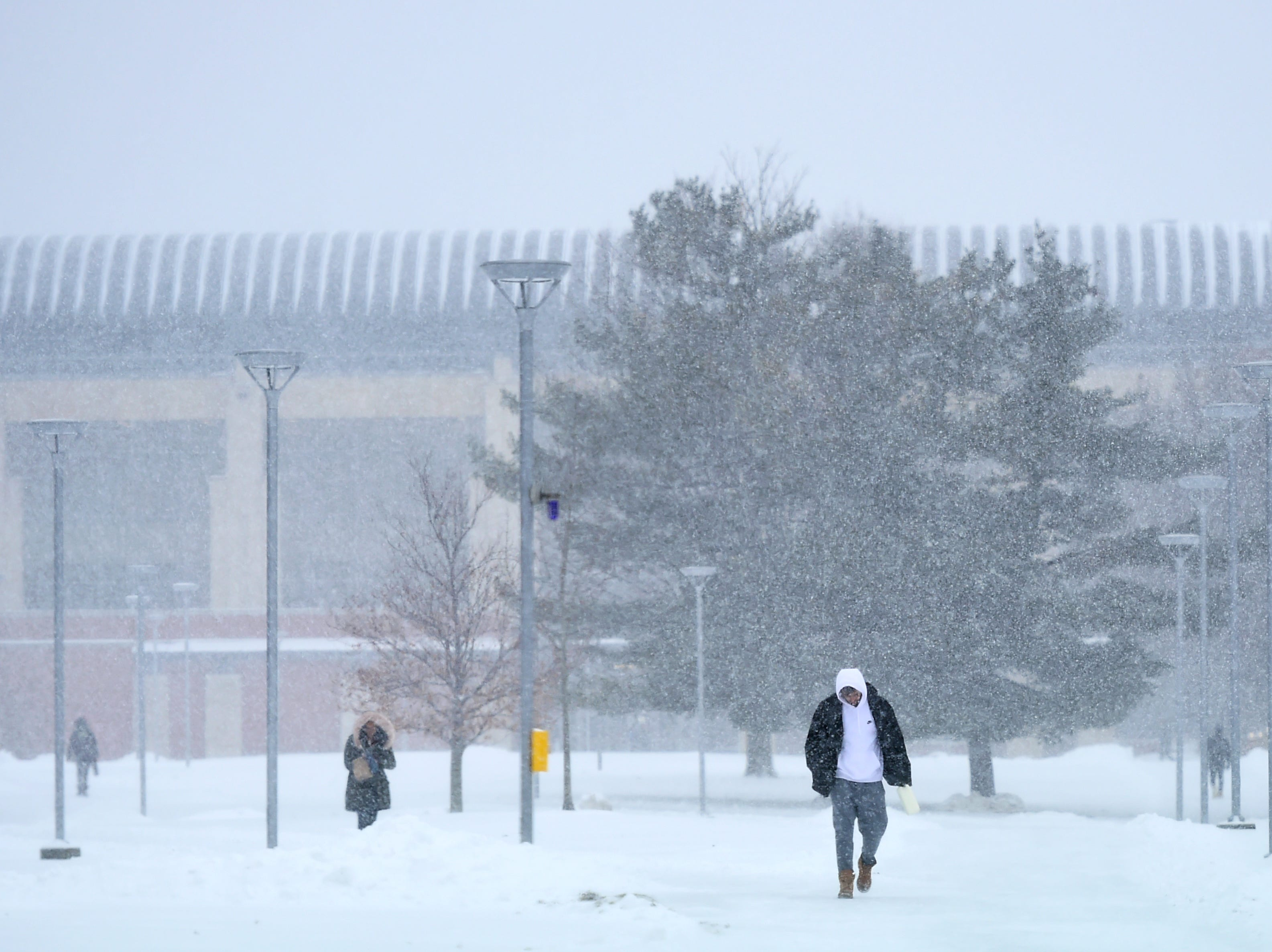 While many area schools cancelled classes on Tuesday, the Ithaca College campus remained open as a winter storm brought snow, ice and high winds to Ithaca and the surrounding regions on Tuesday, February 12, 2019.