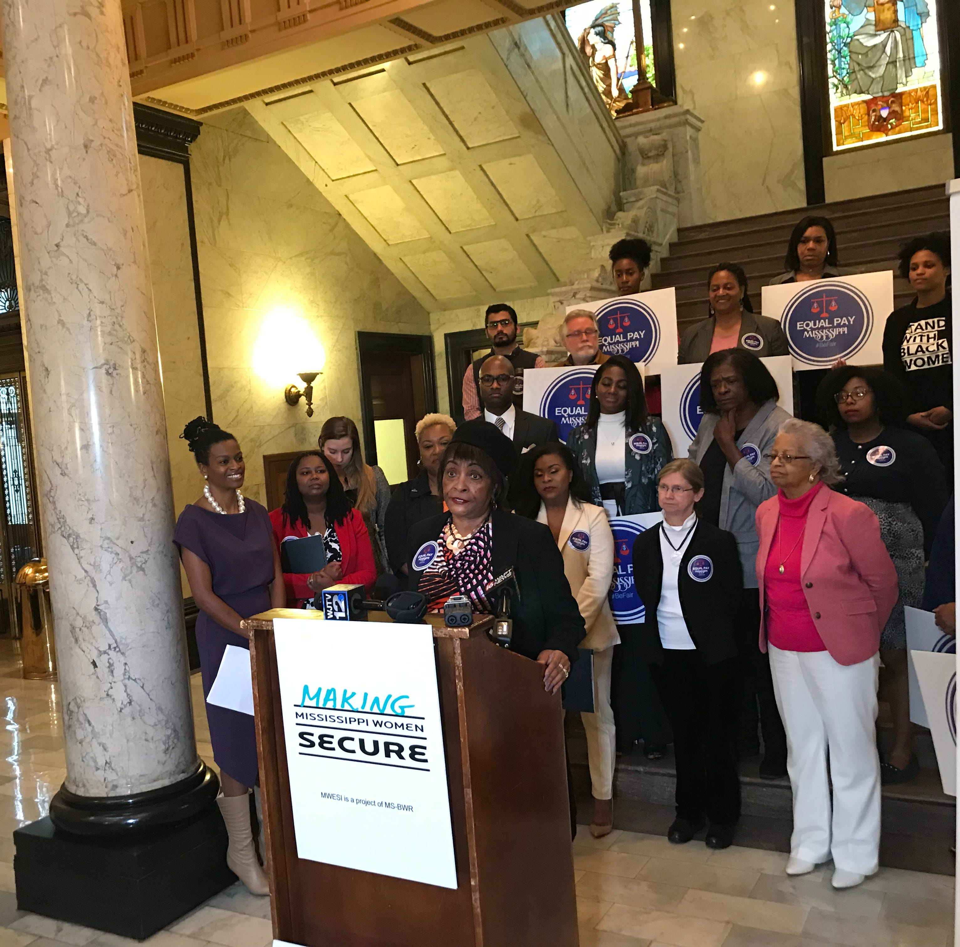 Corrine Anderson, immediate past president of the Mississippi chapter of American Association of University Women,  speaks at the state Capitol for equal pay for equal work for women.