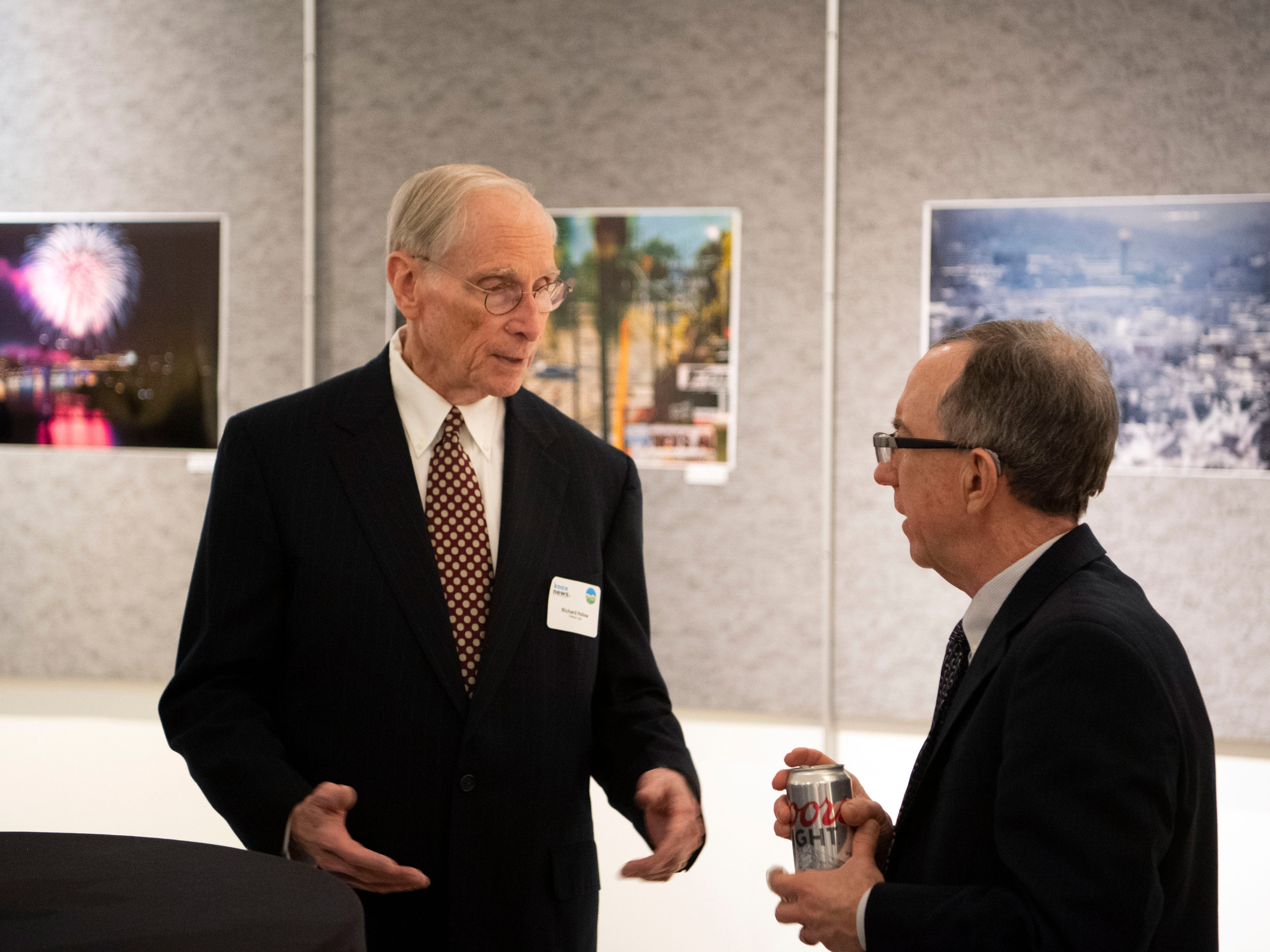 Outgoing News Sentinel executive editor Jack McElroy chats with attorney Richard Hollow during a reception recognizing McElroy's work in his 17 years at the News Sentinel. Hollow was the Sentinel's attorney when McElroy filed lawsuit against Knox County over violations of the state's Sunshine Law in 2007.