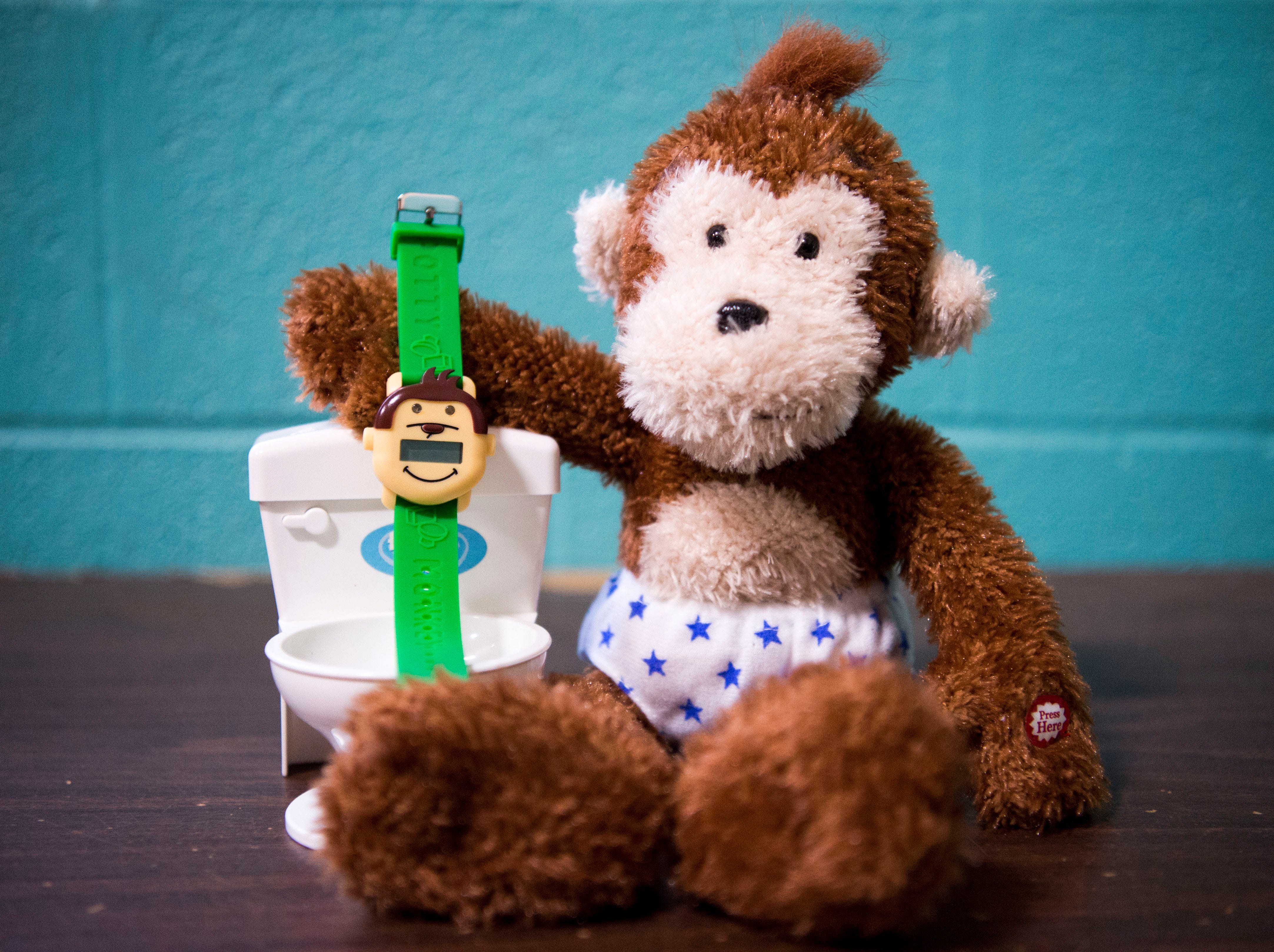 A photo of the Potty Monkey Watch and the Potty Monkey and his potty at PottyMD in West Knoxville Tuesday, Feb. 12, 2019. The local company manufactures watches to help potty train children and other members of the population.