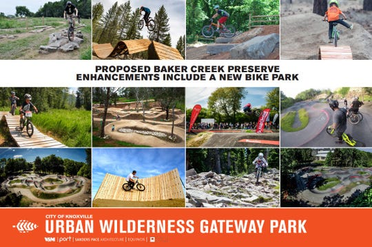 A poster showing what a proposed bike park could bring to the city's Urban Wilderness Gateway Park.