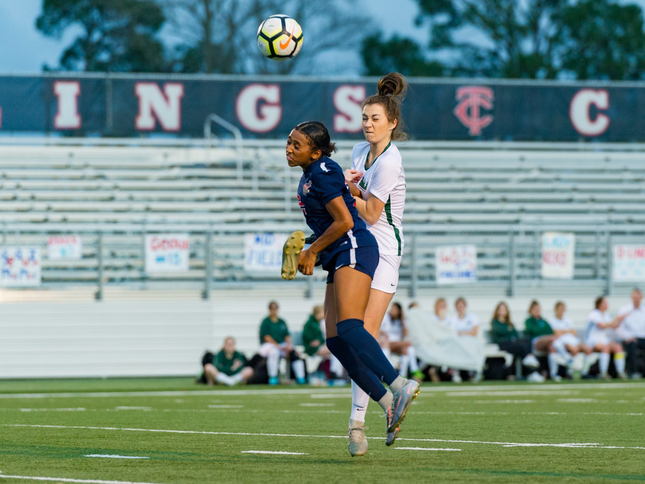Camryn Chretien header as Teurlings Catholic girls soccer takes down Holy Savior Menard in the quarterfinals of the LHSAA soccer playoffs. Monday, Feb. 11, 2019.