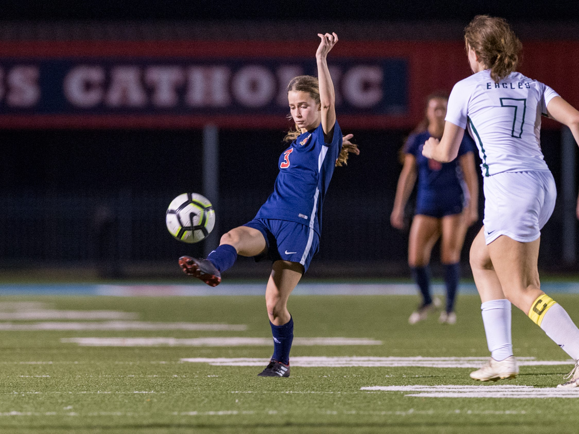 Emily Sonnier drives the ball and scores a goal as Teurlings Catholic girls soccer takes down Holy Savior Menard in the quarterfinals of the LHSAA soccer playoffs. Monday, Feb. 11, 2019.