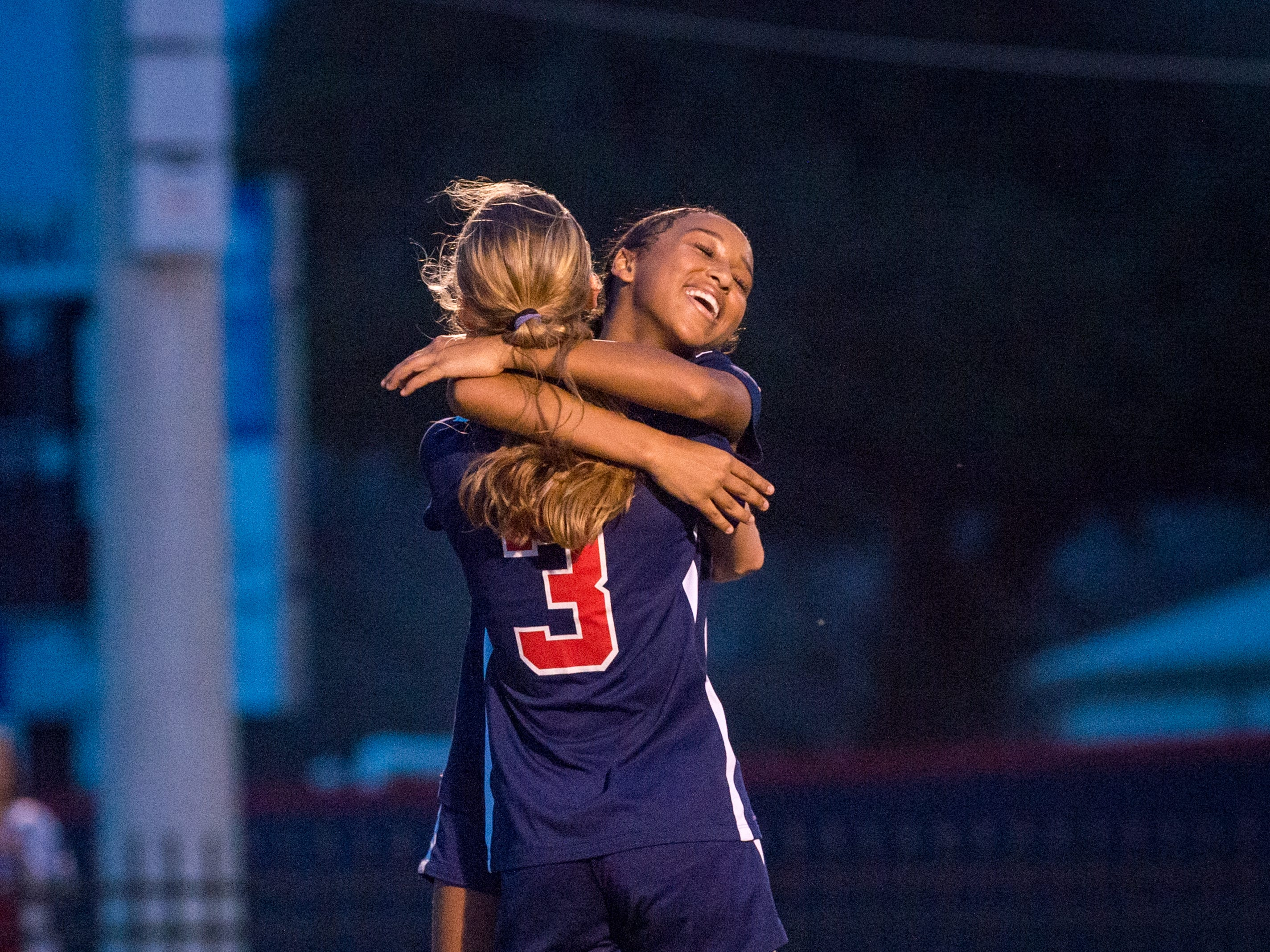 Camryn Chretien celebrates with Emily Sonnier as Teurlings Catholic girls soccer takes down Holy Savior Menard in the quarterfinals of the LHSAA soccer playoffs. Monday, Feb. 11, 2019.