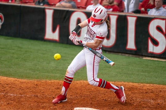 UL's Sarah Hudek takes a swing at a pitch during a Feb. 11 game against California.