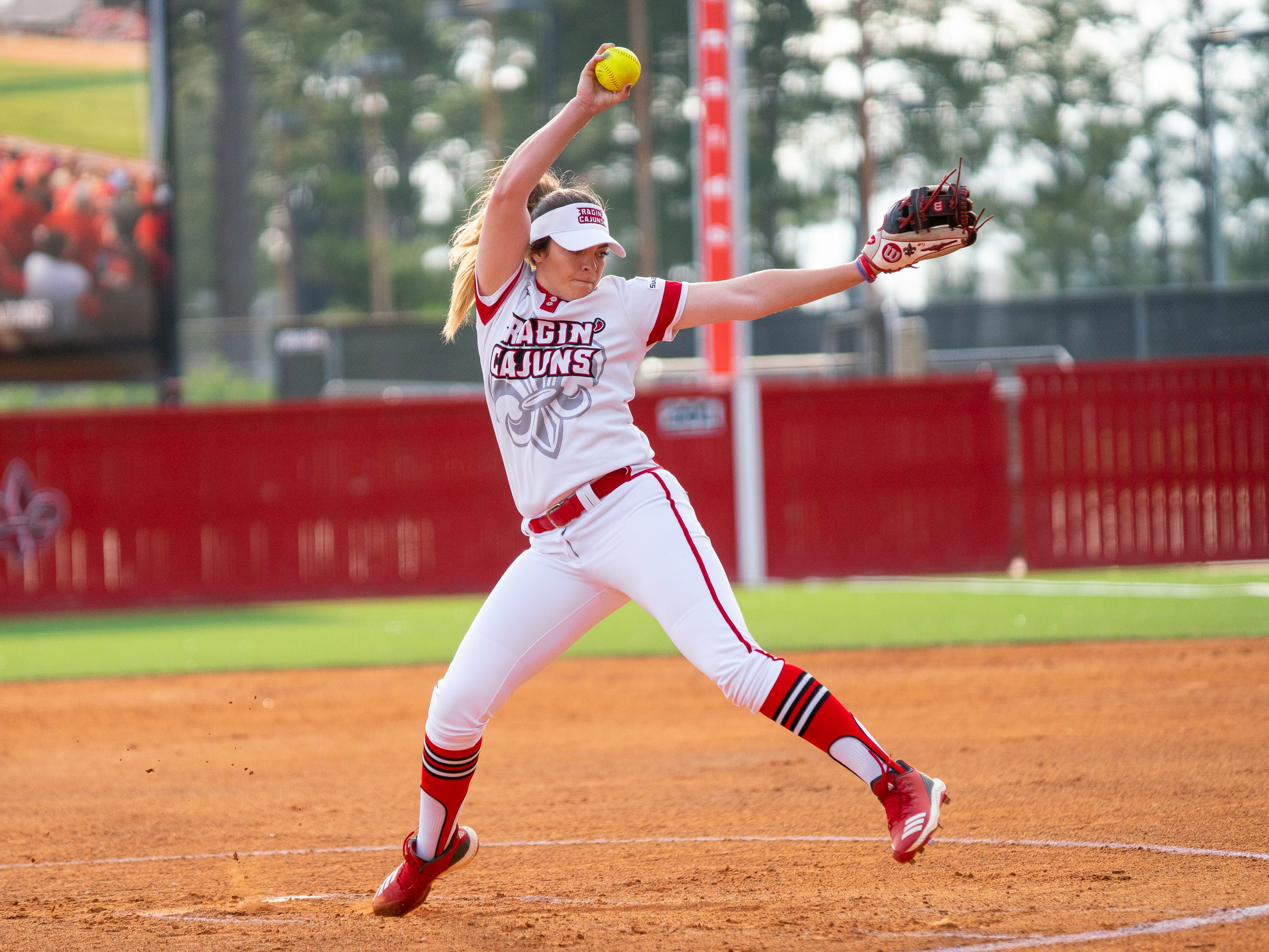 UL's Summer Ellyson throws a pitch to the batter as the Ragin' Cajuns play against the California Golden Bears at Lamson Park on February 11, 2019.
