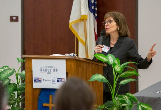 Melanie Bronfin, director of the Louisiana Policy Institute for Children, speaks during an early childhood education summit at Gethsemane LaPetite Early Childhood Development Center.